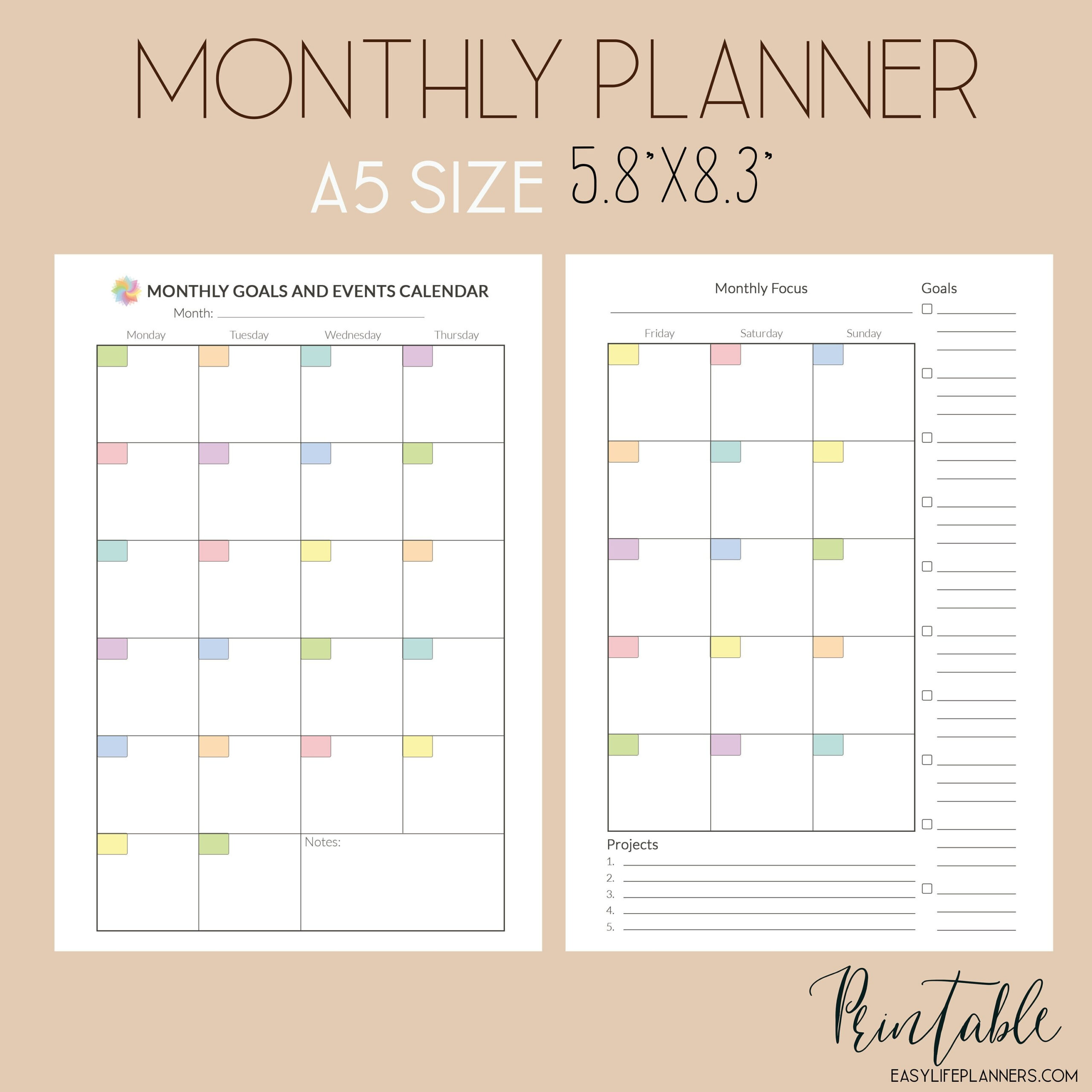 A5 Planner Inserts Monthly Planner Printable Pdf Monthly intended for Planner Insert Printables Book Photo