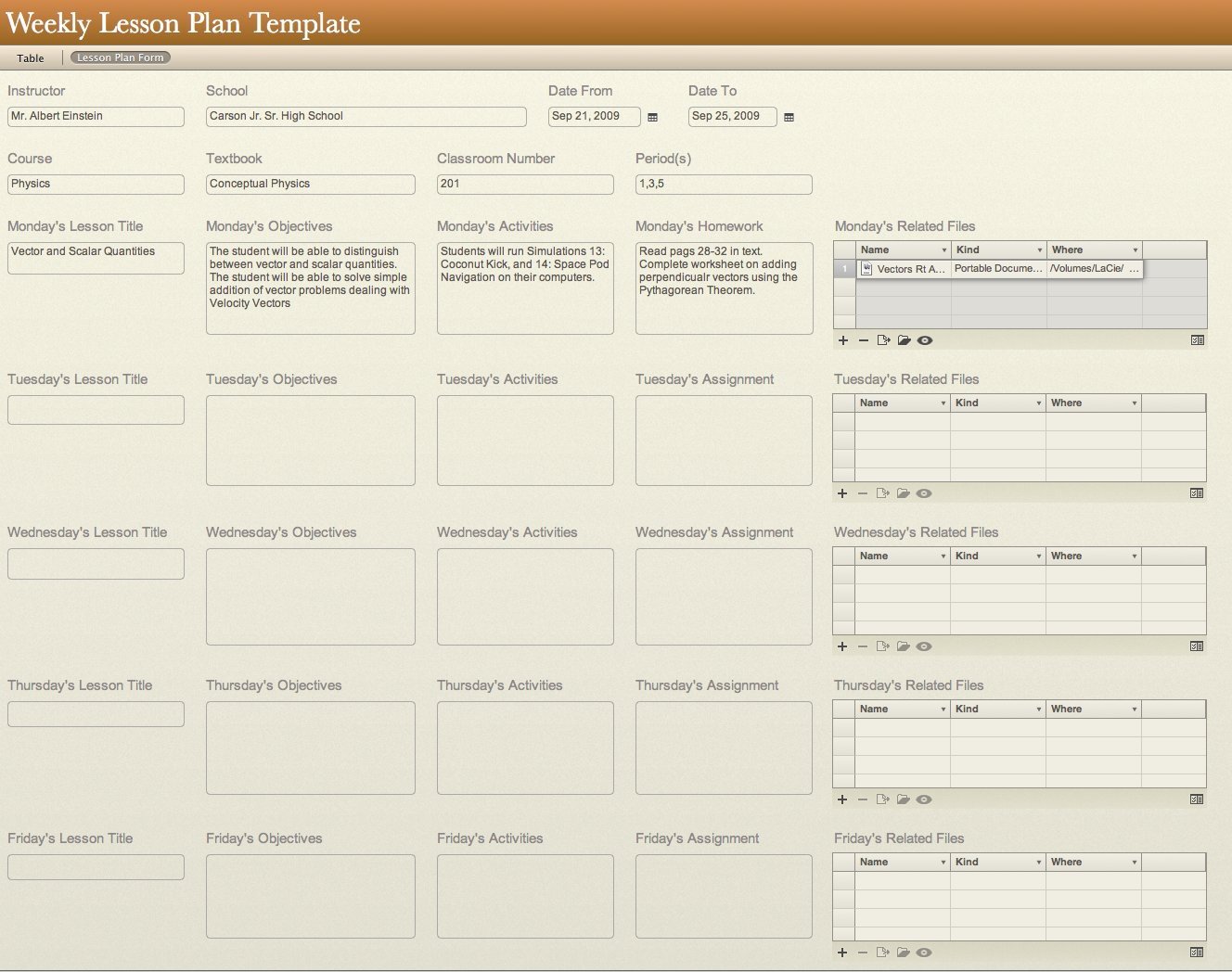 All Templates: Weekly Lesson Plan Template inside Weekly Planner For Teachers Template