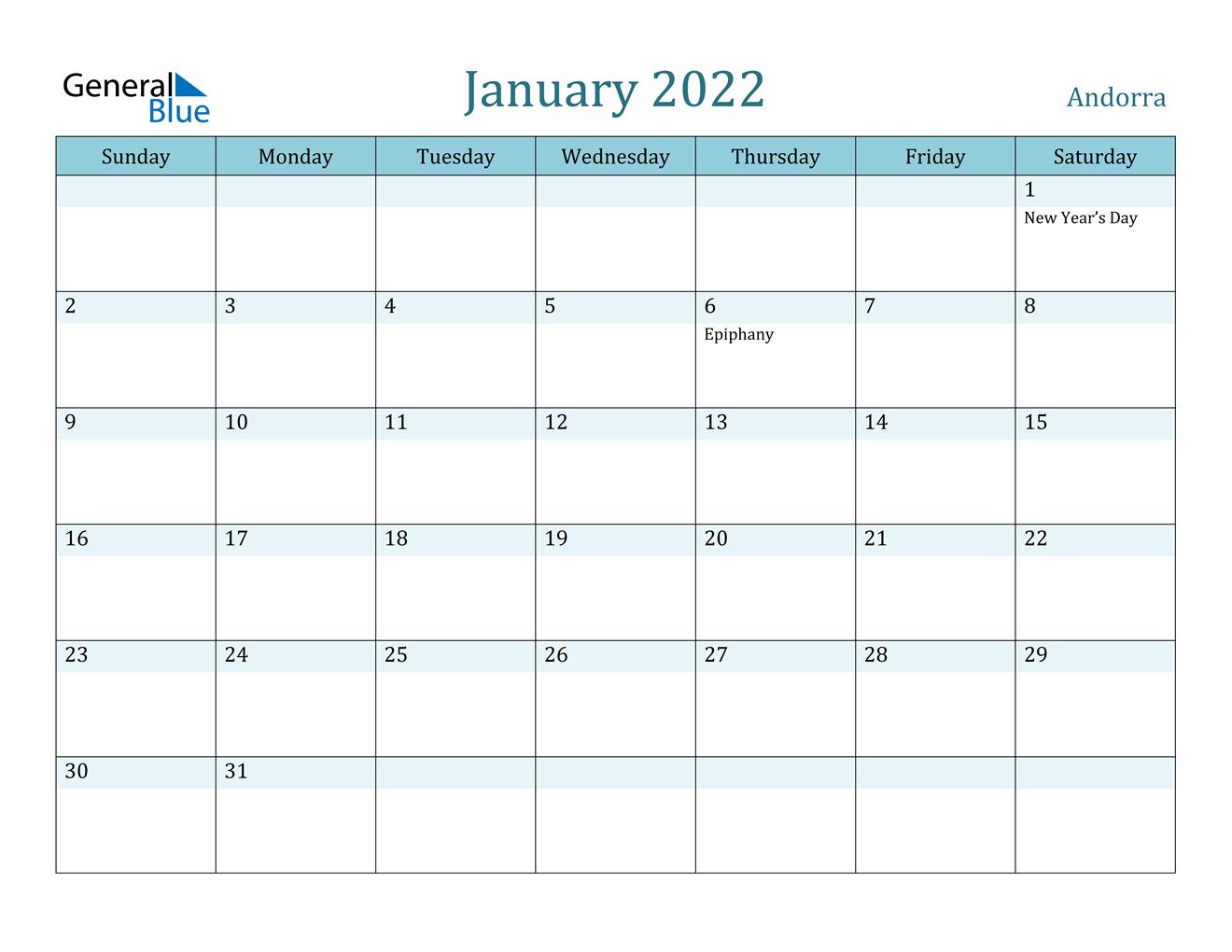 Andorra January 2022 Calendar With Holidays within January 2022 Printable Calendar Photo