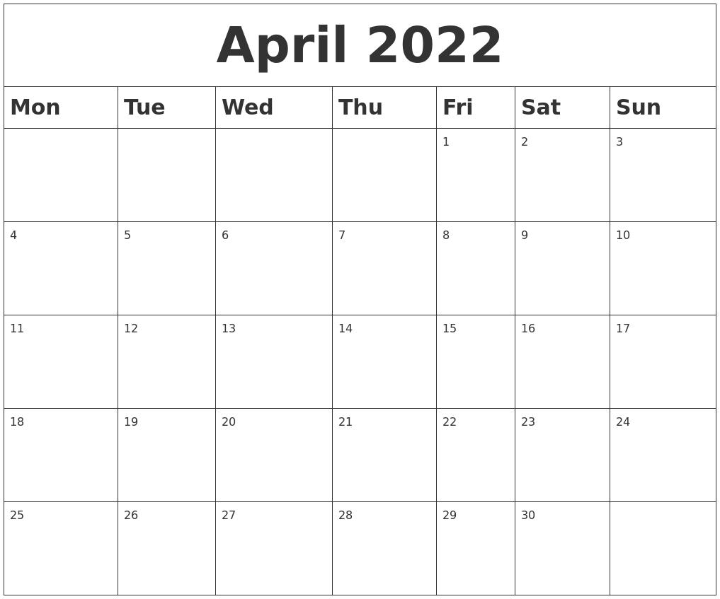 April 2022 Blank Calendar inside Calendar April 2022 Printable Pdf Graphics