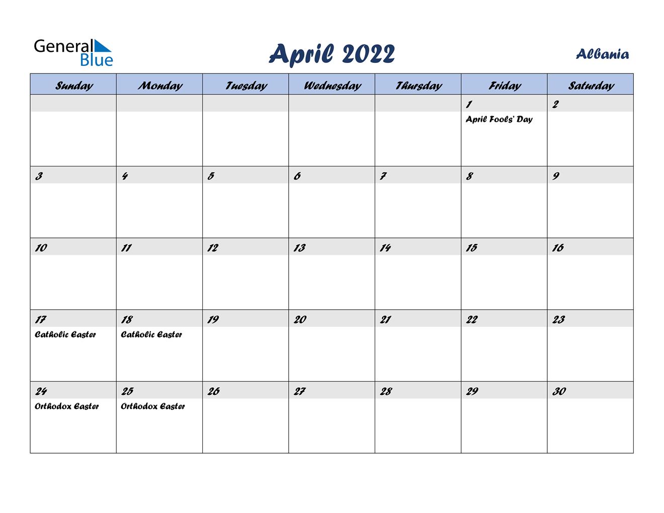 April 2022 Calendar - Albania inside Print Calendar April 2022 Photo