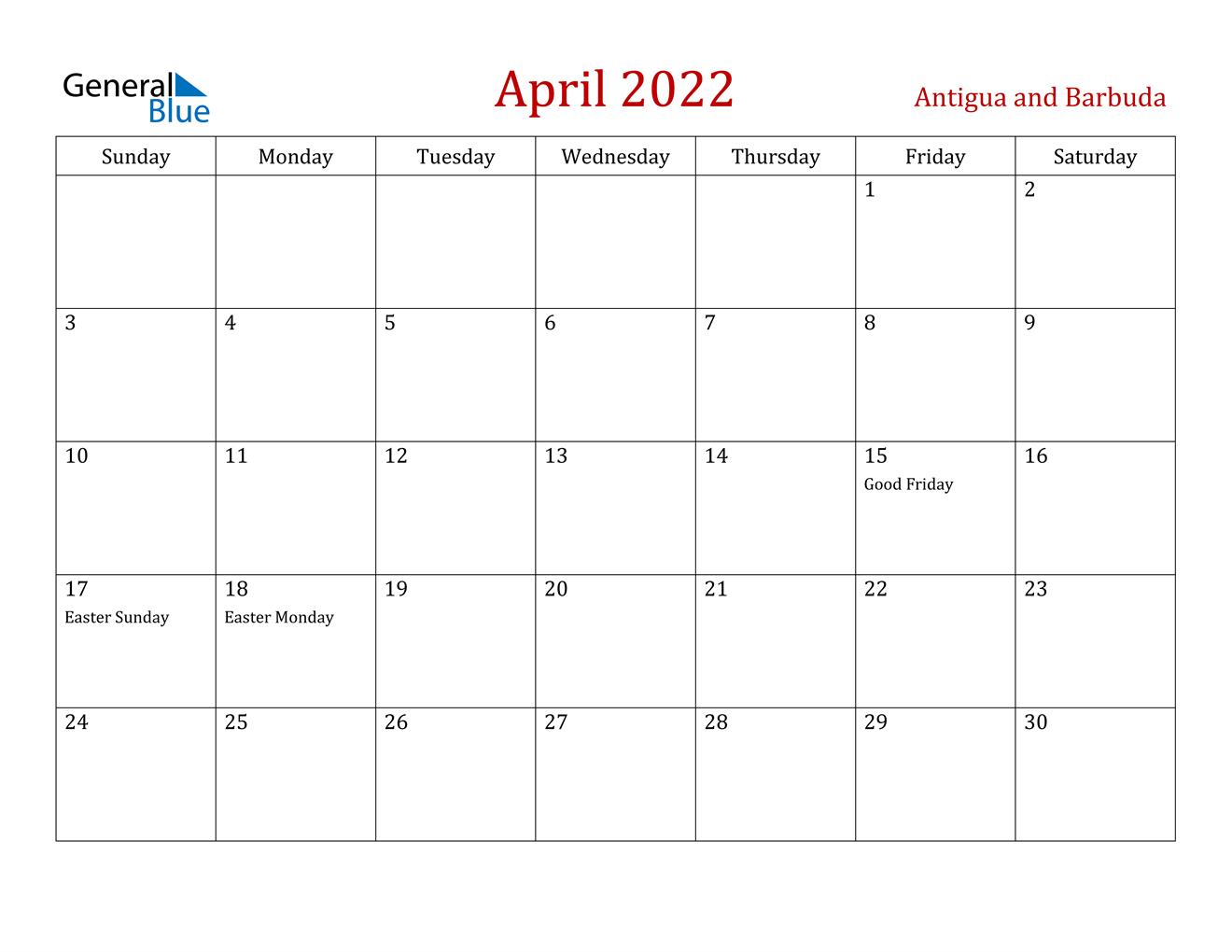 April 2022 Calendar - Antigua And Barbuda in April Monthly Calendar 2022 Free Printable