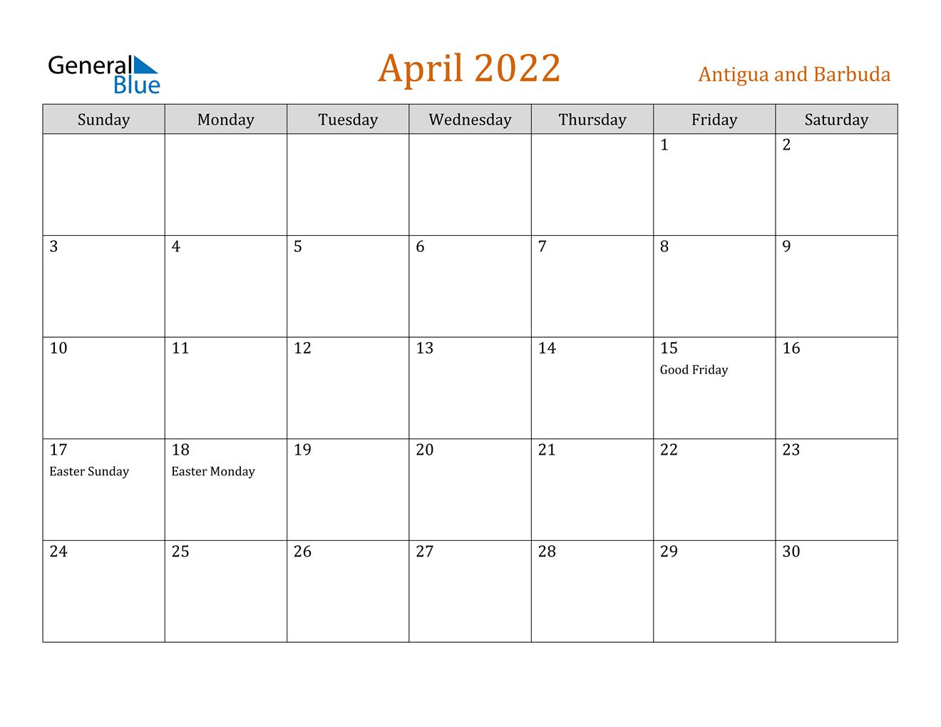April 2022 Calendar - Antigua And Barbuda with regard to Printable Calendar April 2022 Free Photo