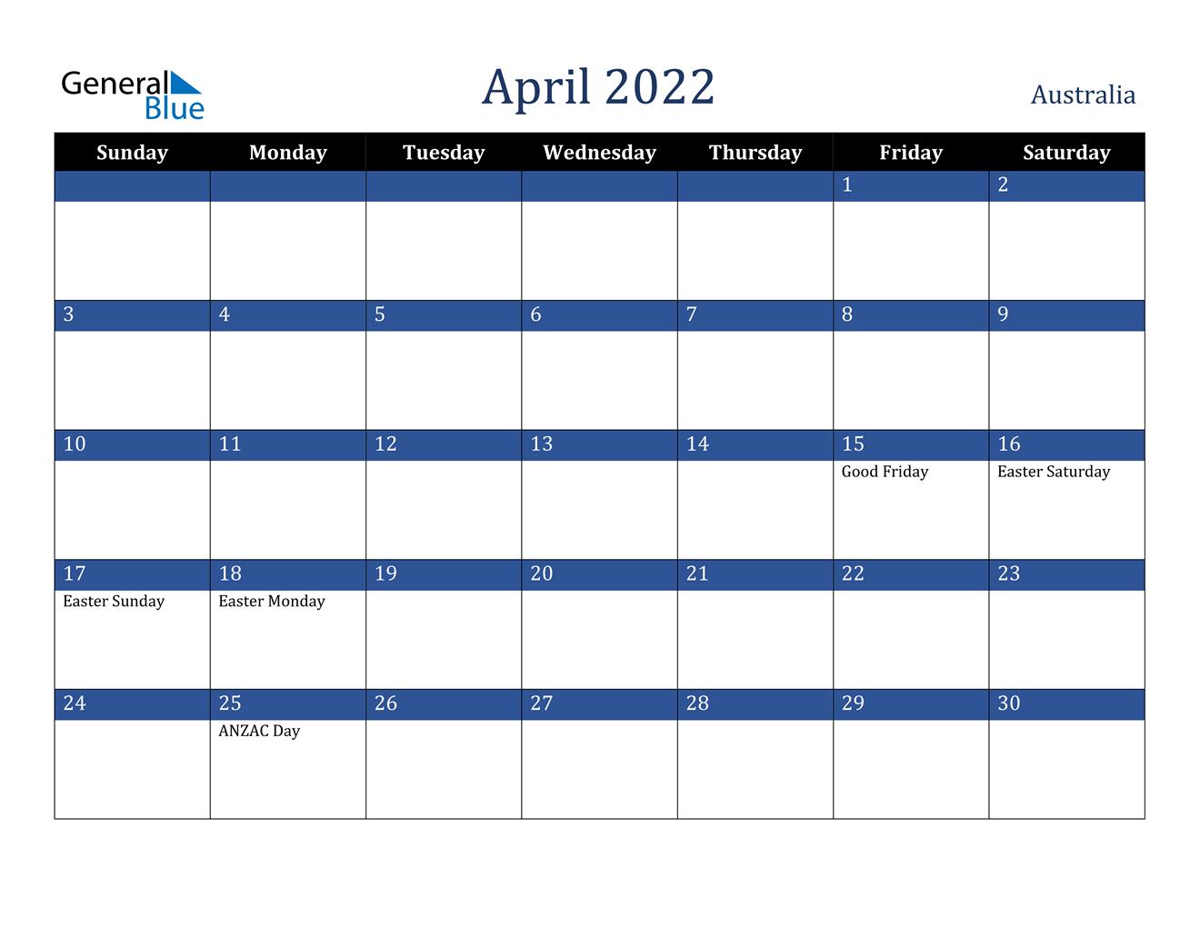 April 2022 Calendar - Australia inside Printable April 2022 Calendar Graphics