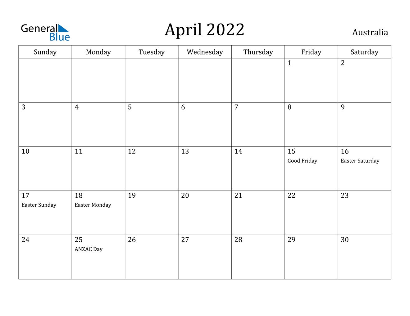 April 2022 Calendar - Australia throughout April 2022 Printable Calendar Free