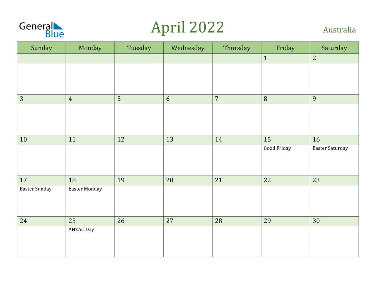 April 2022 Calendar - Australia with Blank Calendar Printable April 2022 Graphics