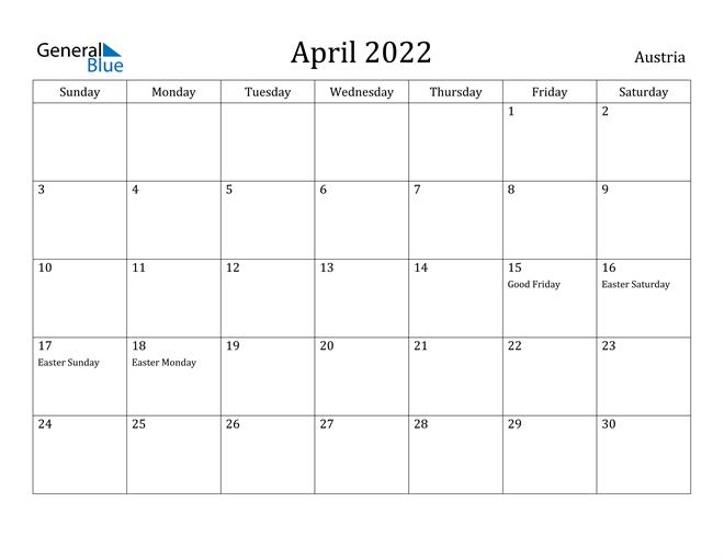 April 2022 Calendar - Austria in April 2022 Calendar To Print