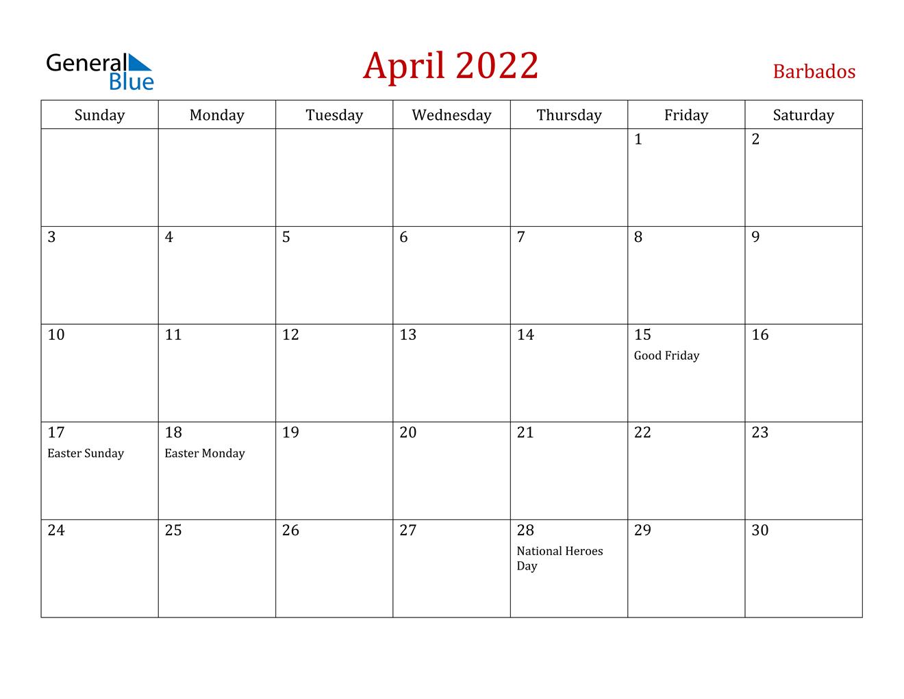 April 2022 Calendar - Barbados for Calendar 2022 April Print Now Graphics