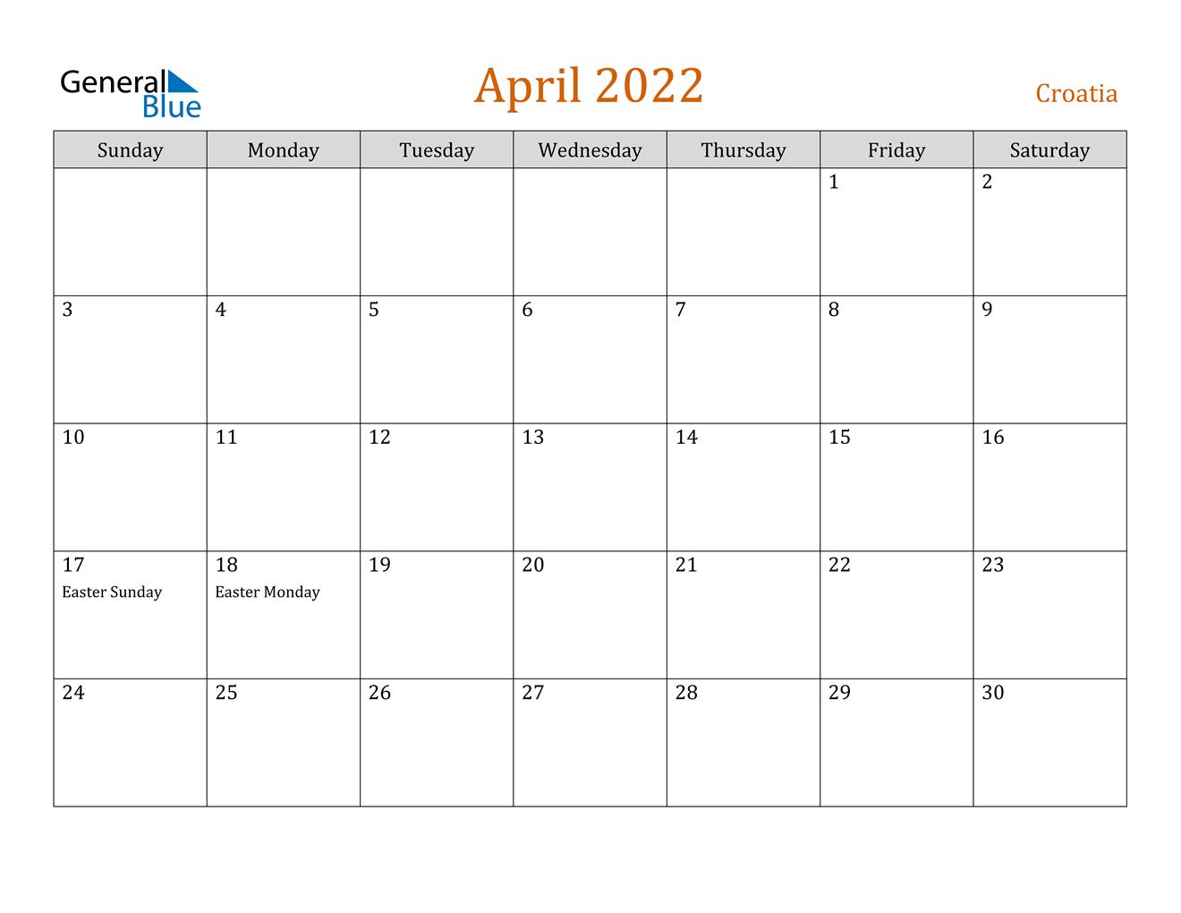 April 2022 Calendar - Croatia pertaining to April May Calendar 2022 Printable