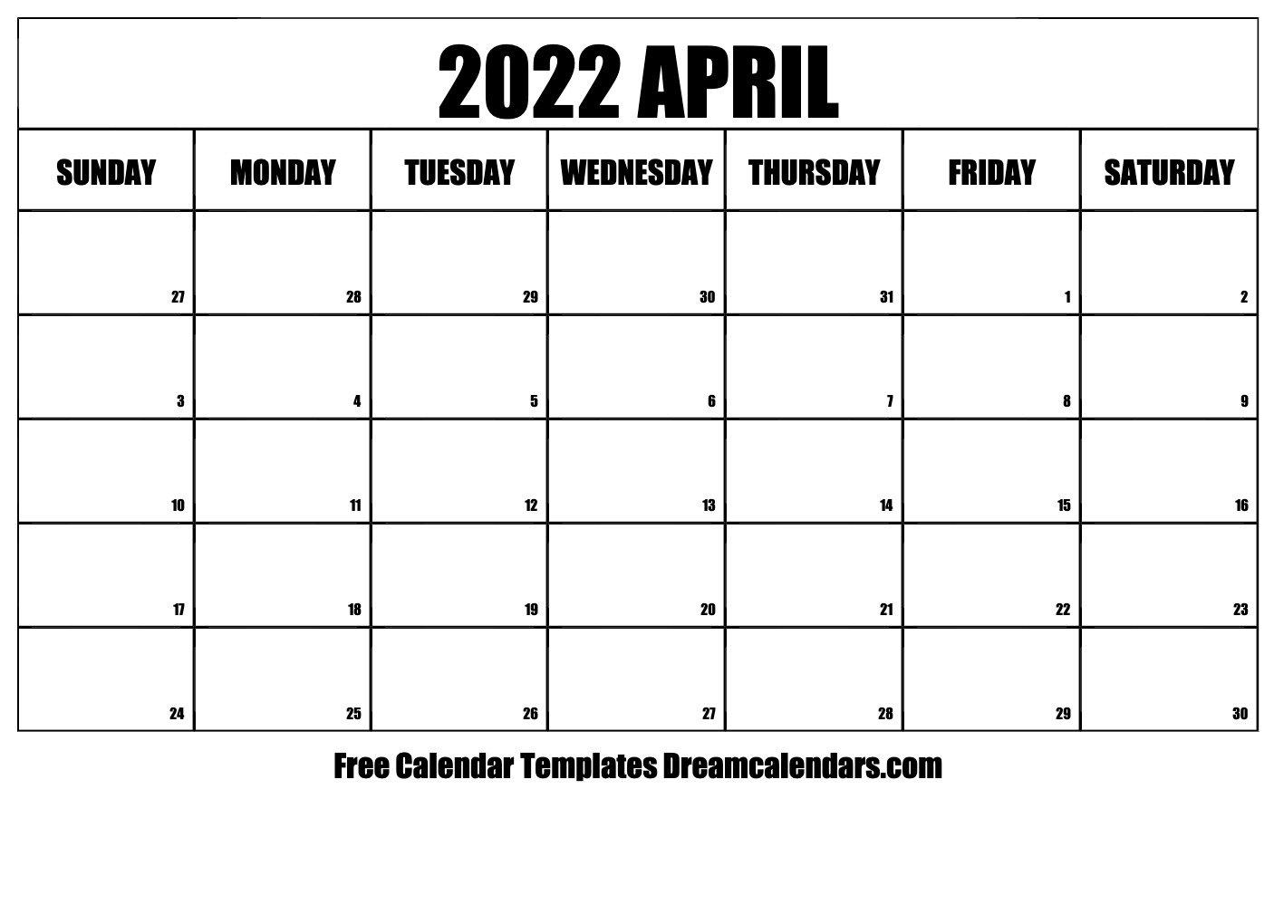 April 2022 Calendar   Free Blank Printable Templates for March April May 2022 Calendar Printable Graphics