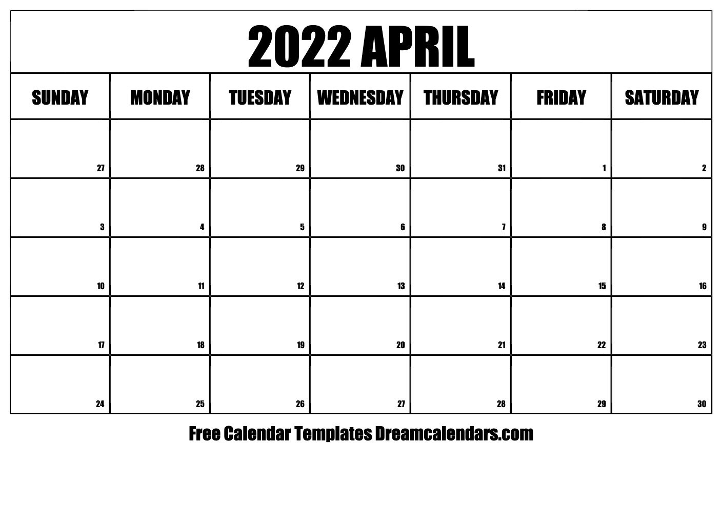 April 2022 Calendar | Free Blank Printable Templates intended for March April 2022 Printable Calendar