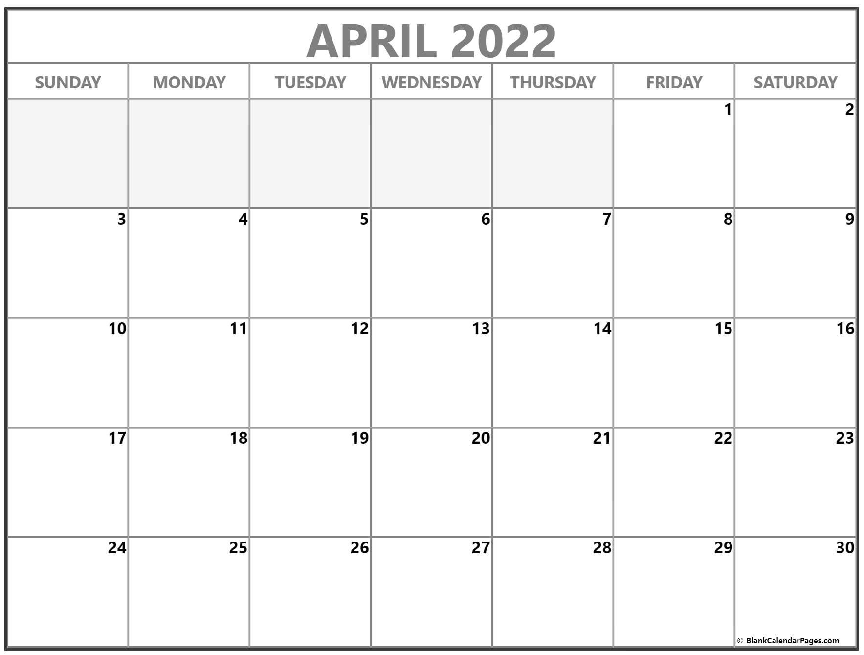 April 2022 Calendar   Free Printable Calendar Templates inside April 2022 Printable Calendar Free 2022