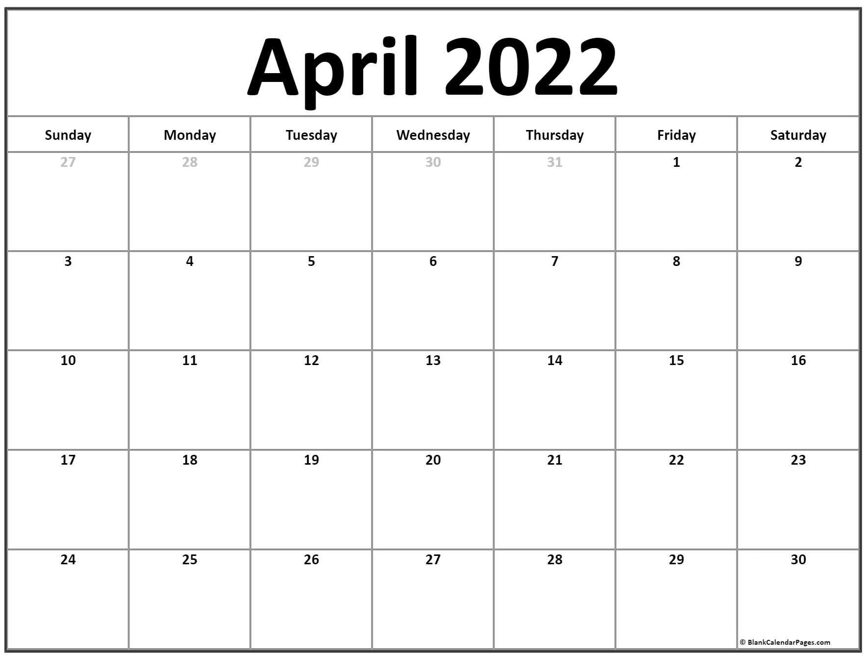 April 2022 Calendar | Free Printable Calendar Templates pertaining to April 2022 Calendar Printable Images