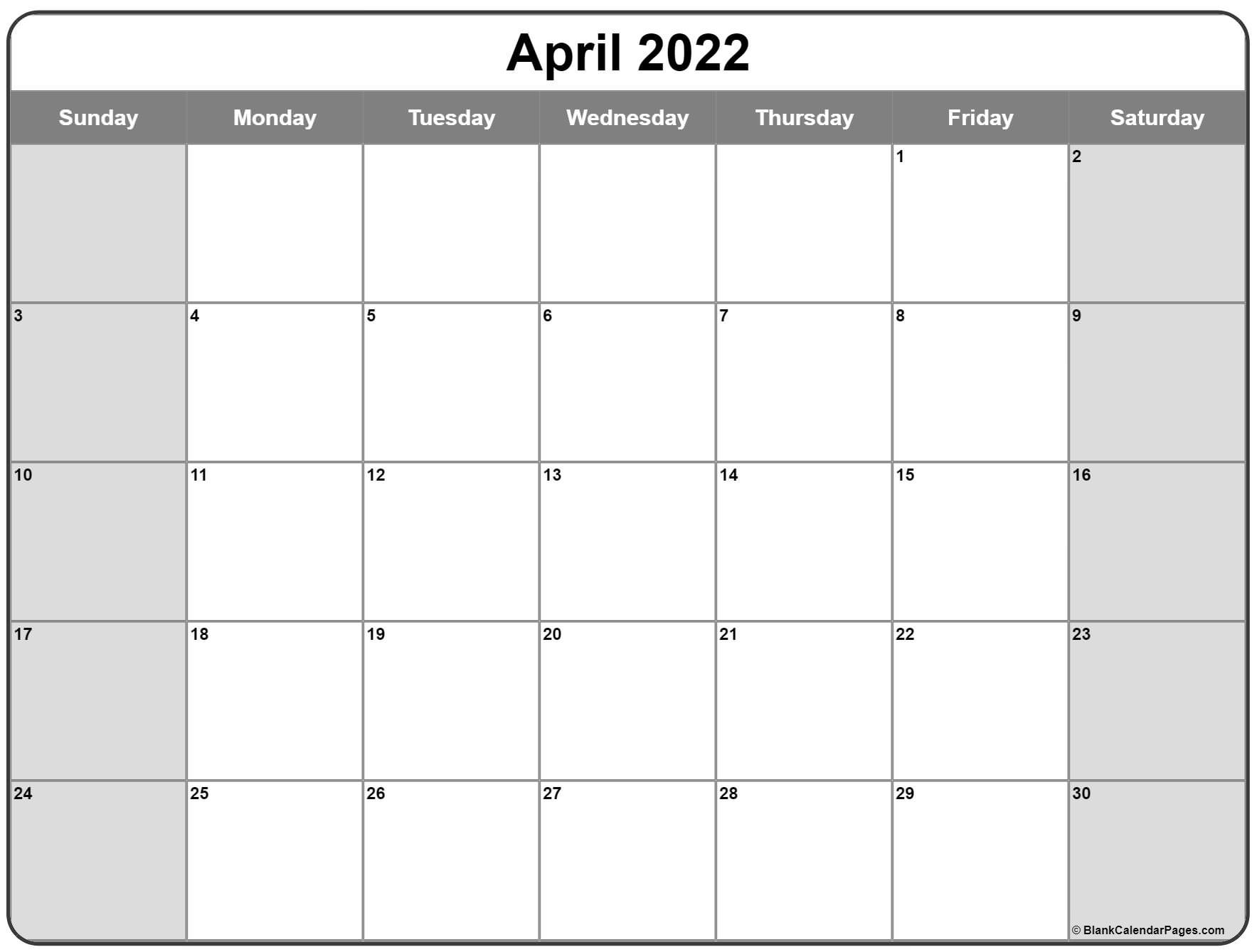 April 2022 Calendar | Free Printable Calendar Templates throughout April Calendar 2022 Free Printable