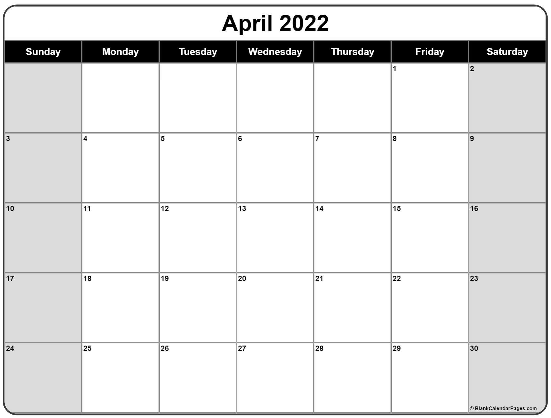 April 2022 Calendar | Free Printable Calendar Templates throughout Printable April 2022 Calendar Template Free Image