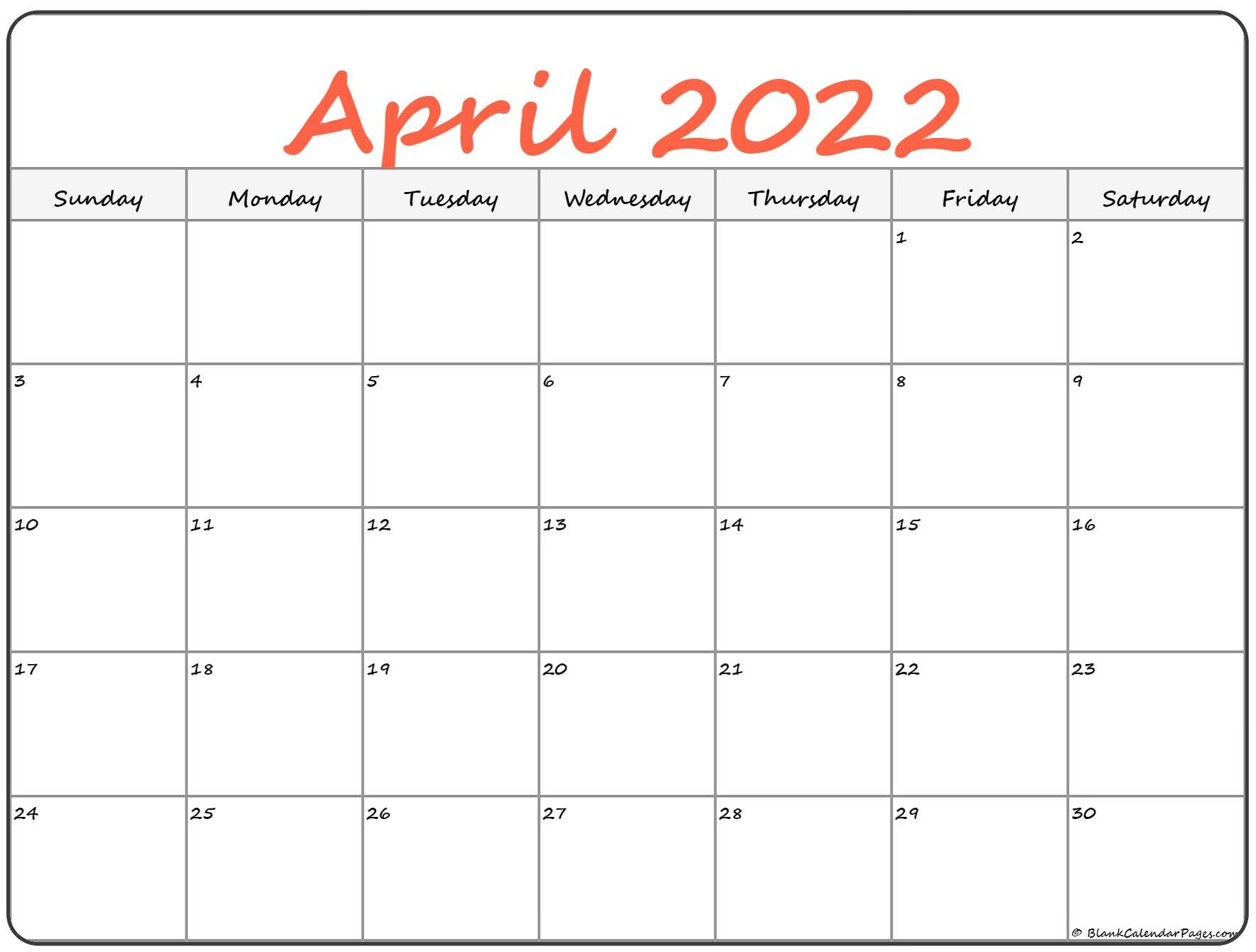 April 2022 Calendar | Free Printable Calendar Templates within April 2022 Calendar Printable Images Photo