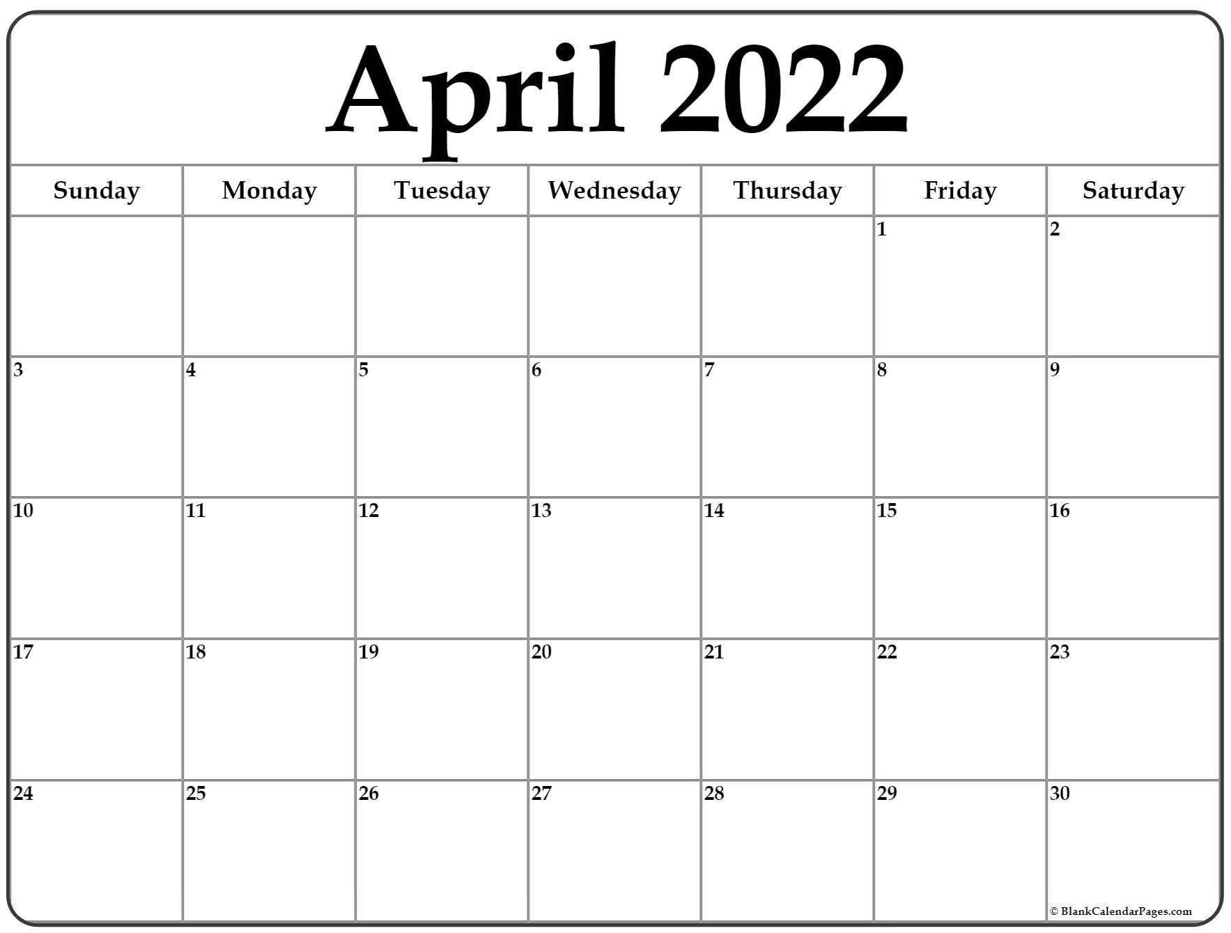 April 2022 Calendar   Free Printable Calendar Templates within April 2022 Printable Calendar Free 2022