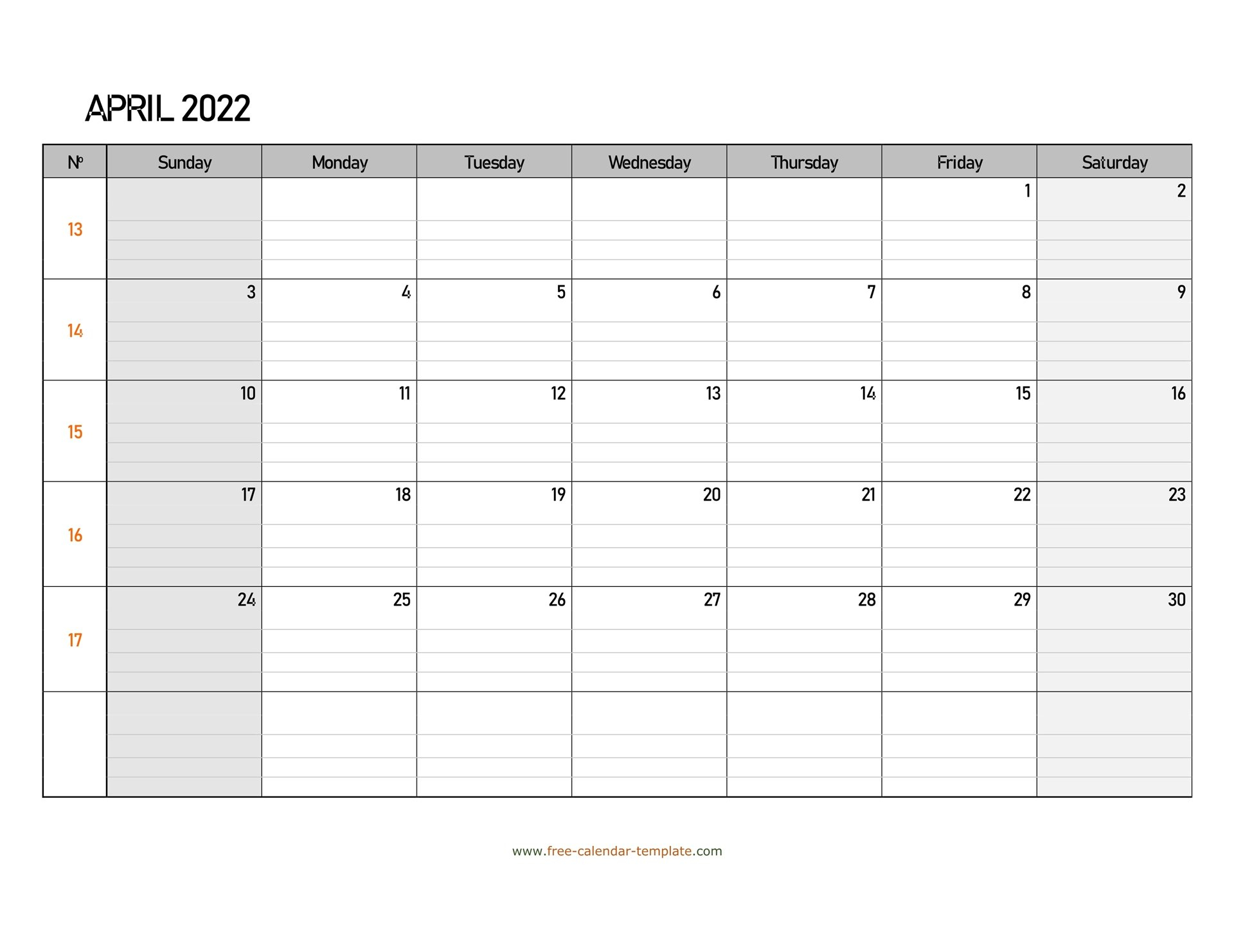 April 2022 Calendar Free Printable With Grid Lines for April May Calendar 2022 Printable