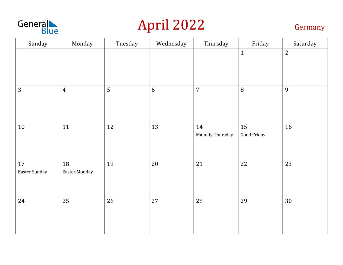 April 2022 Calendar - Germany regarding April May 2022 Printable Calendar
