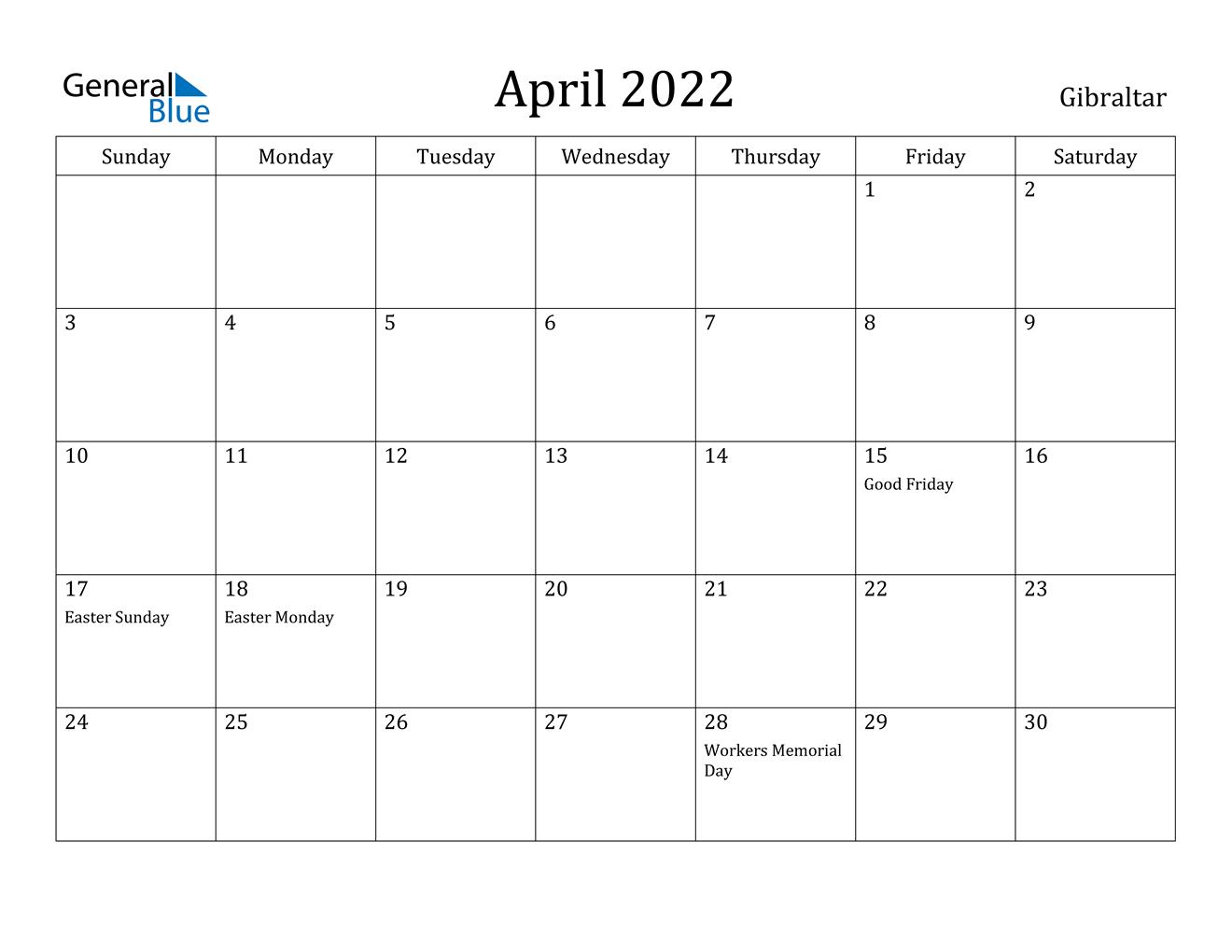 April 2022 Calendar - Gibraltar in April May Calendar 2022
