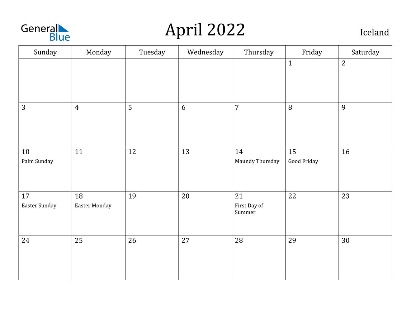 April 2022 Calendar - Iceland in April Calendar 2022 Free Printable