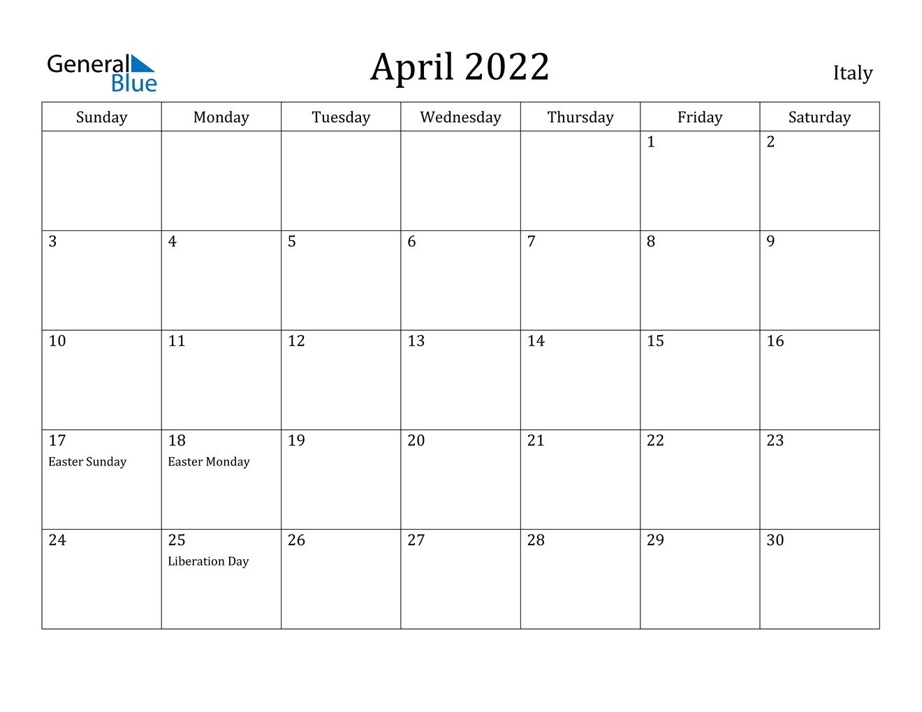April 2022 Calendar - Italy pertaining to Print Calendar April 2022 Photo