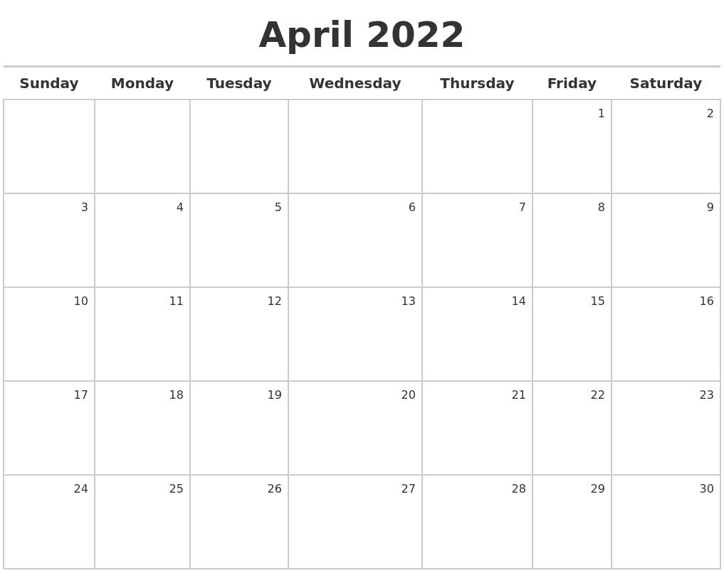 April 2022 Calendar Maker pertaining to April May Calendar 2022 Pdf