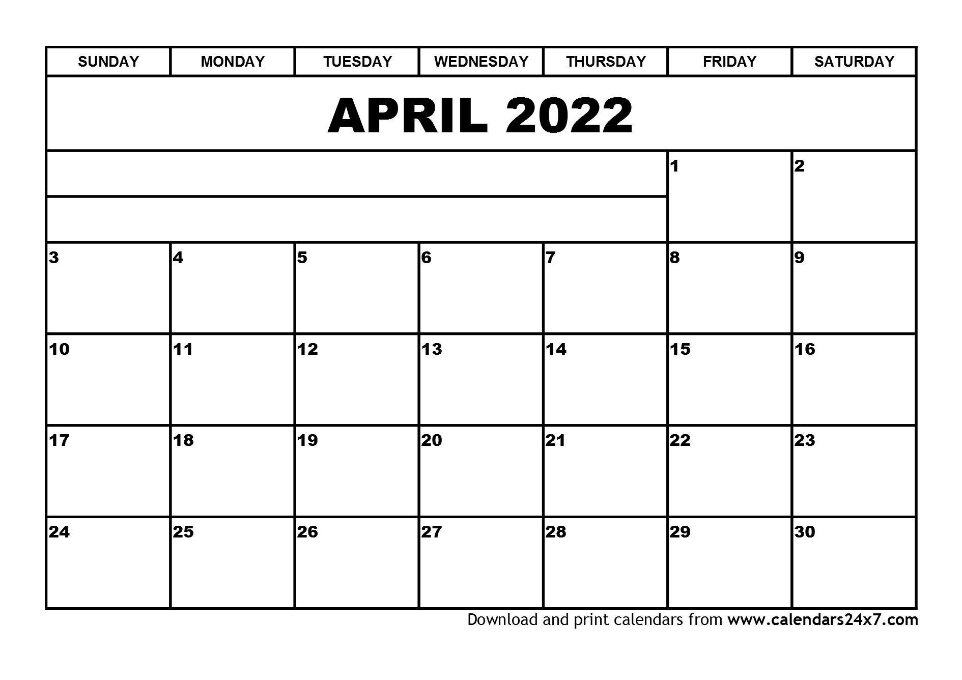 April 2022 Calendar & May 2022 Calendar in April 2022 Printable Calendar Free