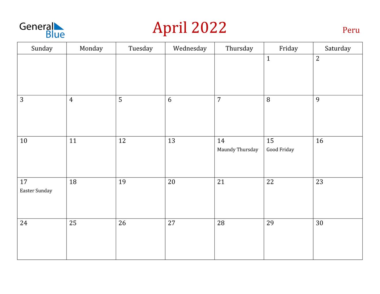 April 2022 Calendar - Peru with Printable Monthly Calendar April 2022