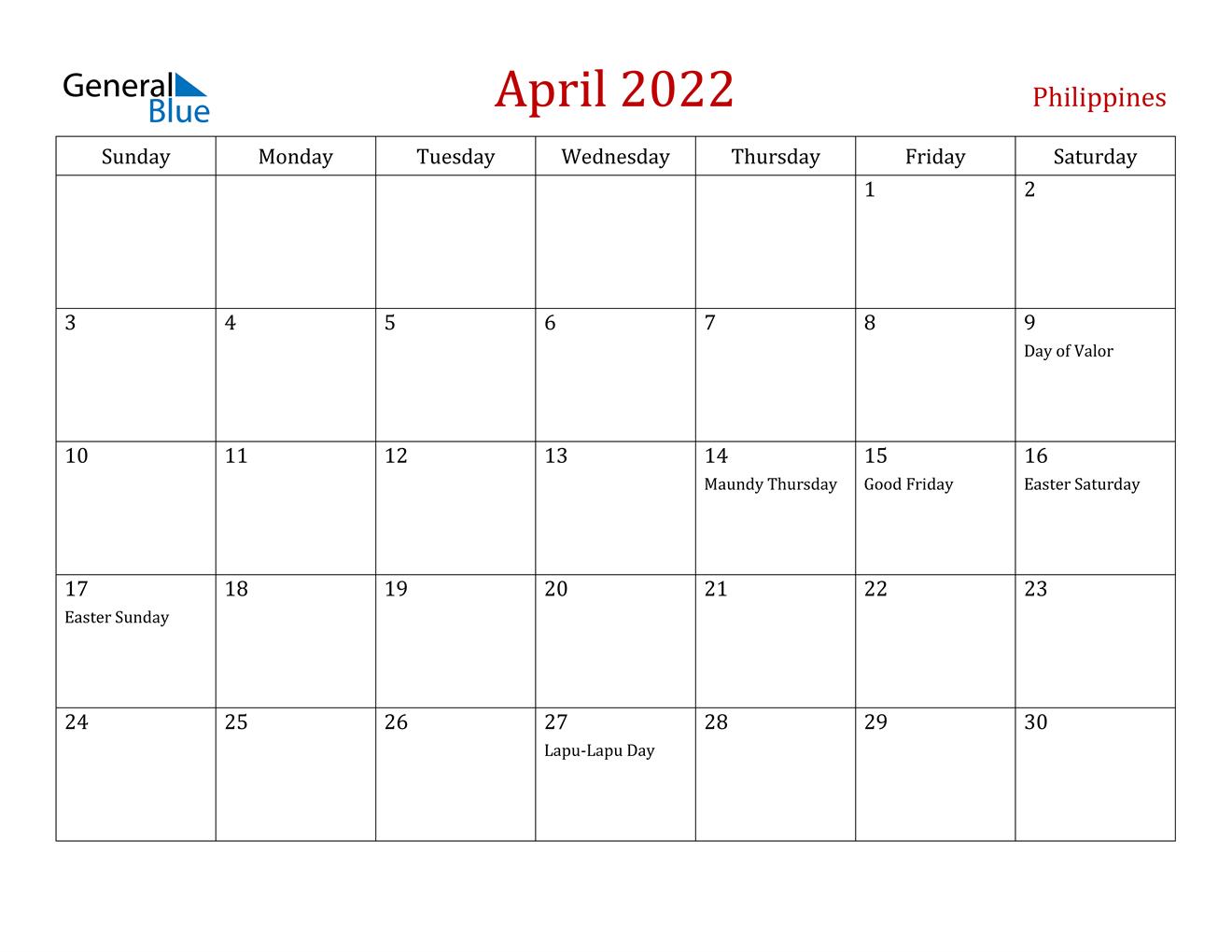 April 2022 Calendar - Philippines within Printable April 2022 Calendar