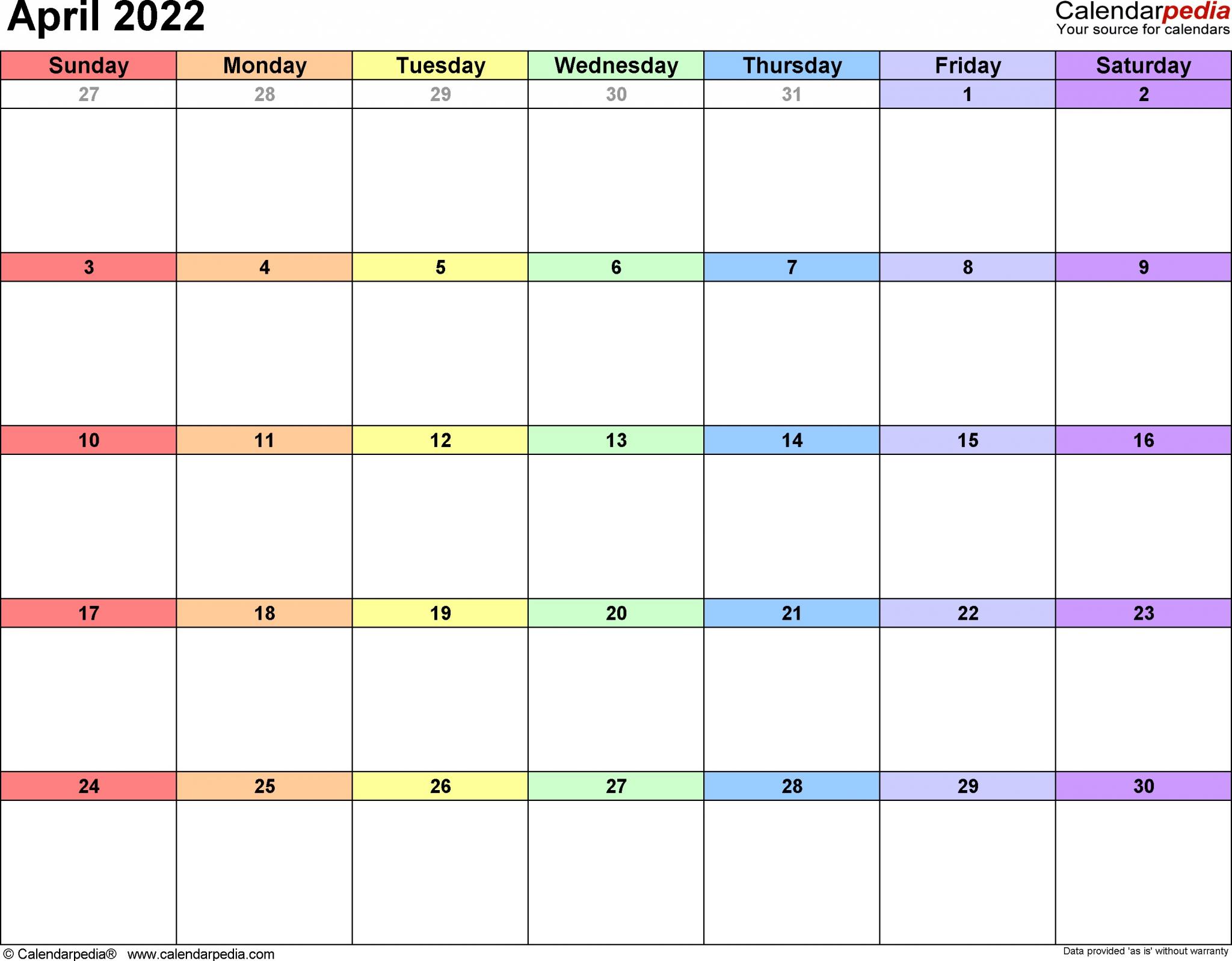 April 2022 Calendar Printable   Free Printable Calendar throughout April Monthly Calendar 2022 Free Printable Photo