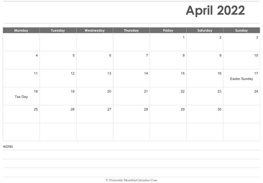 April 2022 Calendar Printable With Holidays with Calendar 2022 April Print Now