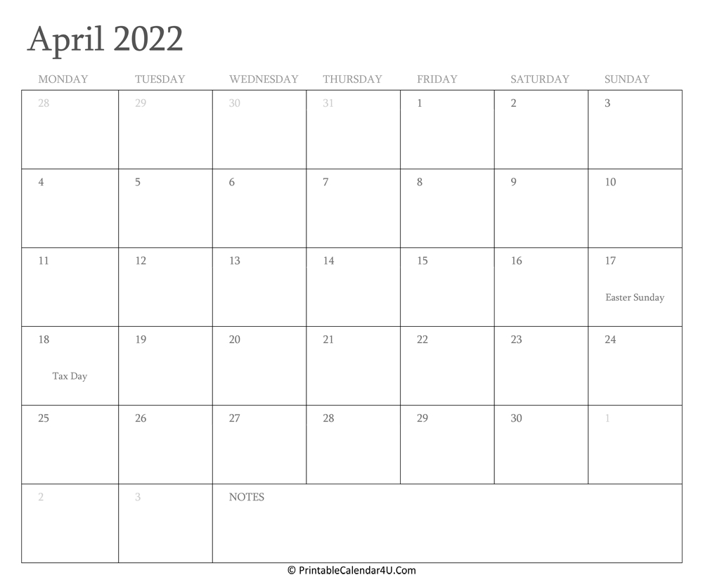 April 2022 Calendar Printable With Holidays within 2022 April Calendar Free Printable Graphics