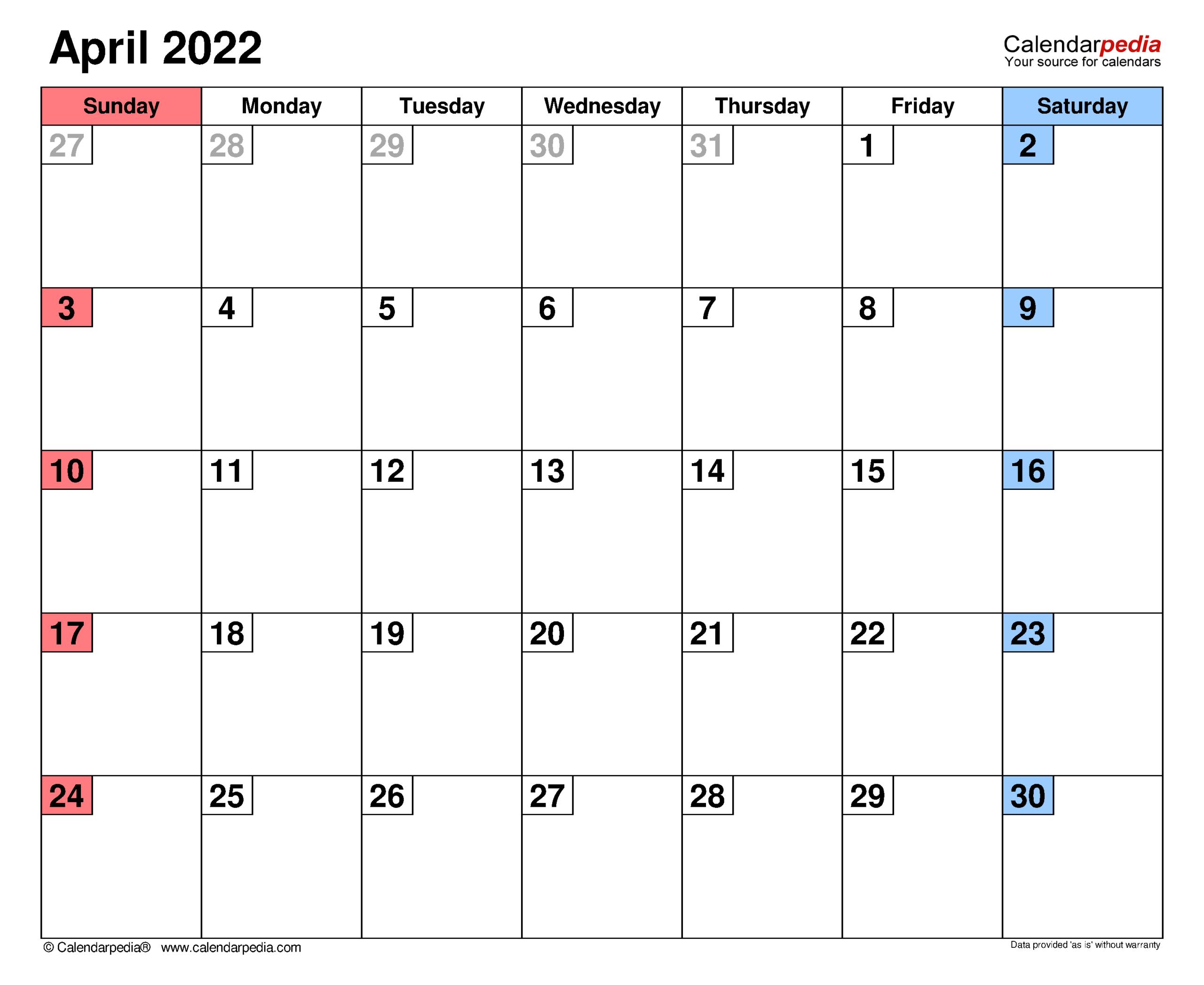 April 2022 Calendar | Templates For Word, Excel And Pdf for Calendar 2022 April Print Now