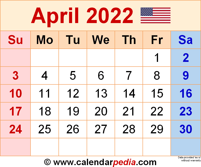 April 2022 Calendar | Templates For Word, Excel And Pdf in Printable Monthly Calendar April 2022