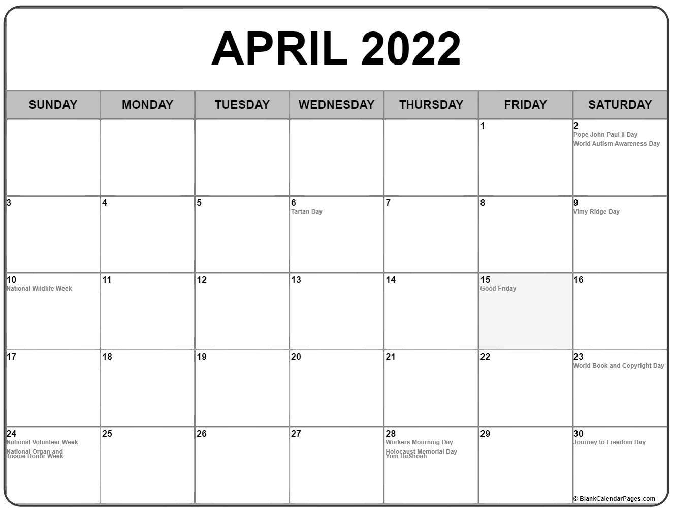 April 2022 Calendar With Holidays inside Calendar 2022 April Print Now Graphics