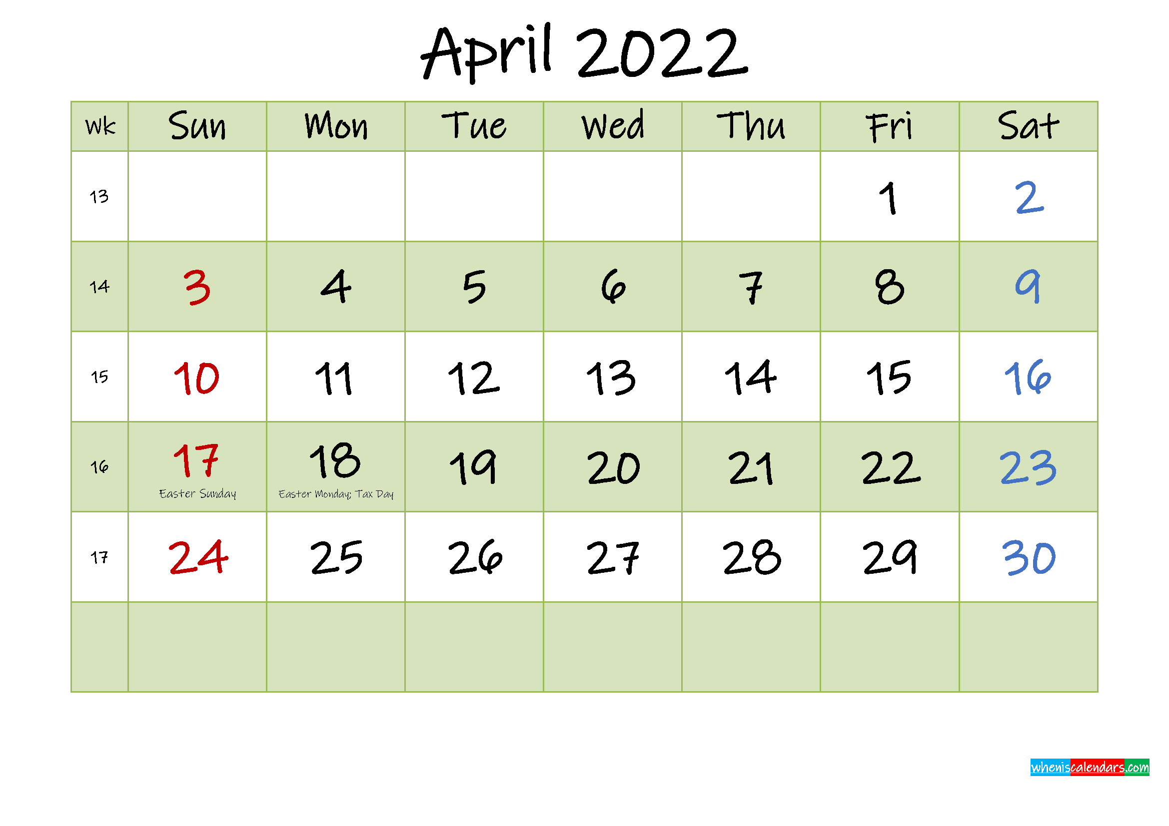 April 2022 Calendar With Holidays Printable - Template No with regard to April Monthly Calendar 2022 Free Printable