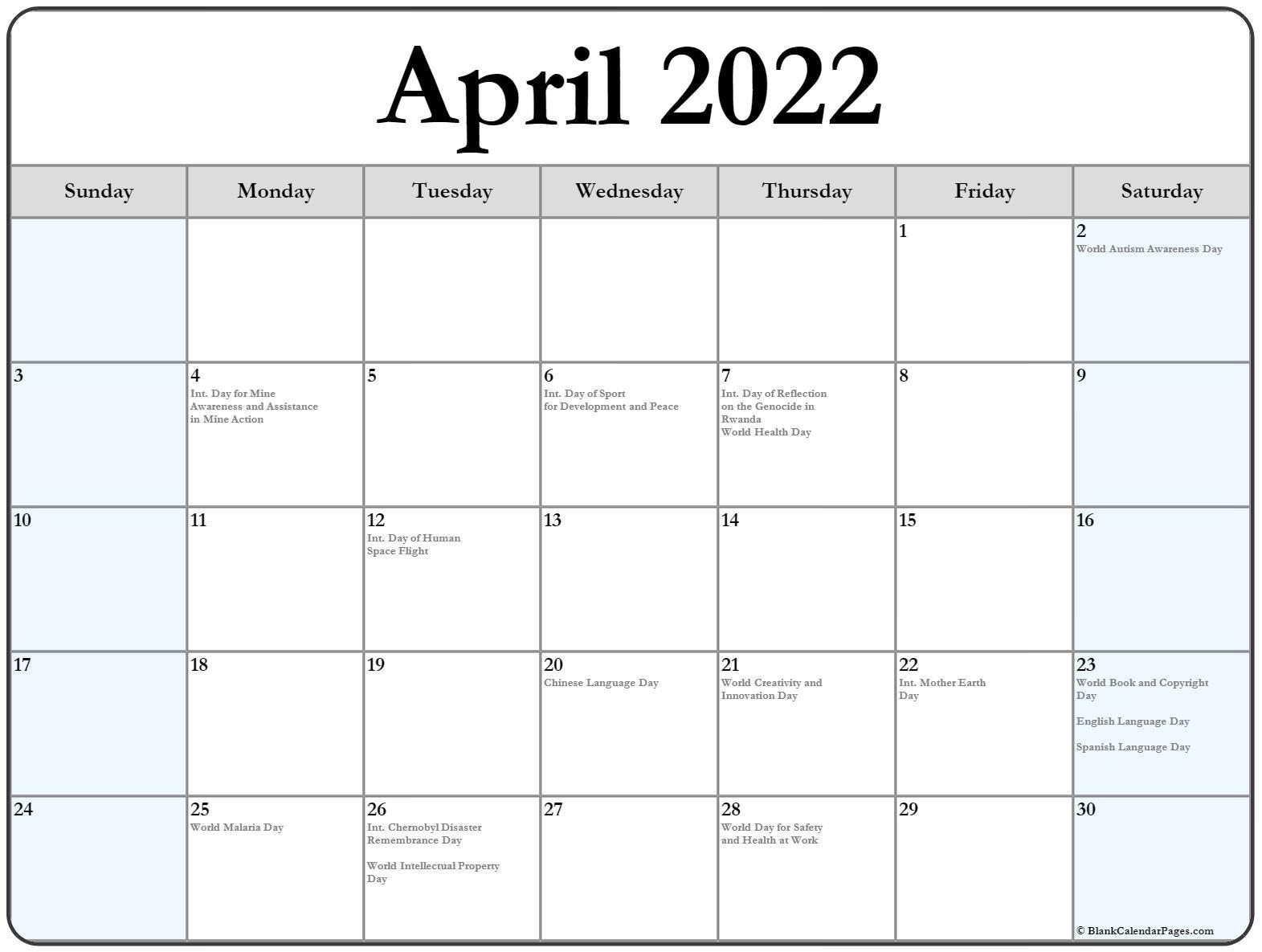 April 2022 Calendar With Holidays regarding Printable April 2022 Calendar Template Free