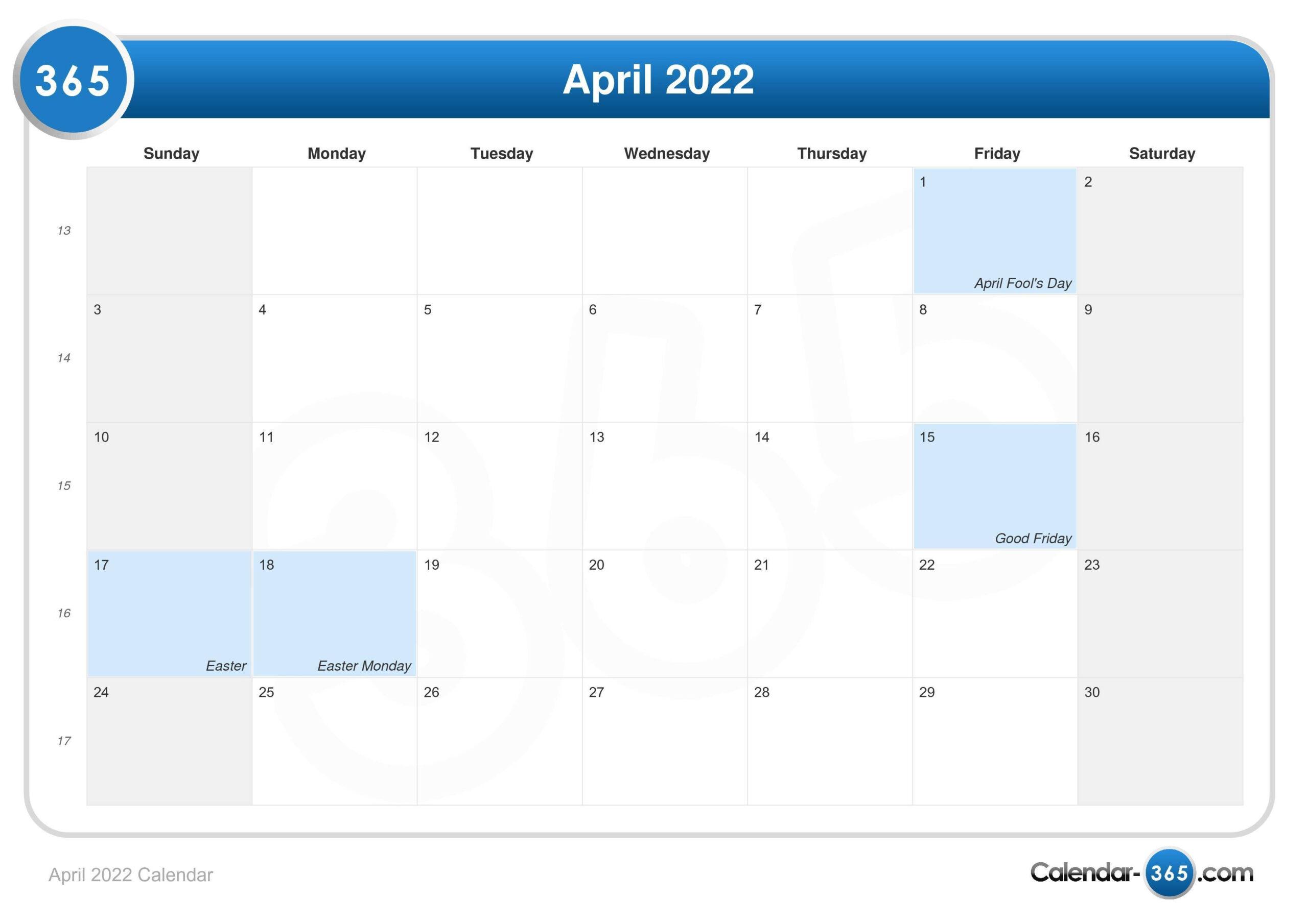 April 2022 Calendar with regard to Calendar 2022 April Print Now Graphics