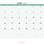 Printable April 2022 Calendar Template Image