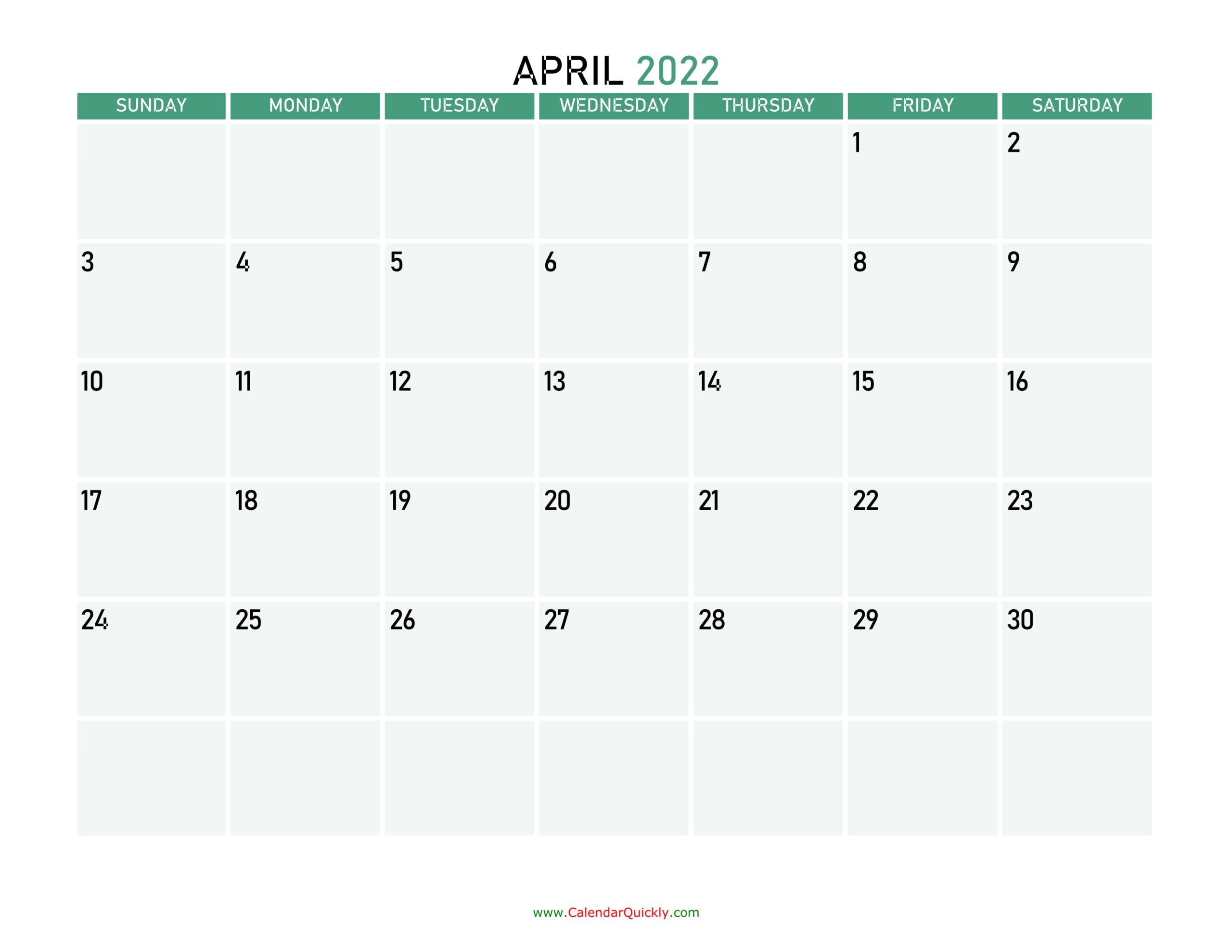 April 2022 Calendars | Calendar Quickly pertaining to Printable April 2022 Calendar Template
