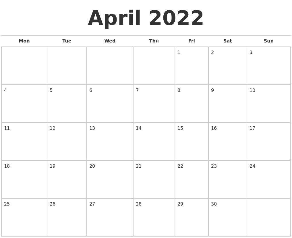 April 2022 Calendars Free with regard to Printable April 2022 Calendar Template Free Image