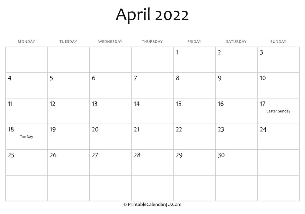 April 2022 Editable Calendar With Holidays for April Calendar 2022 Free Printable