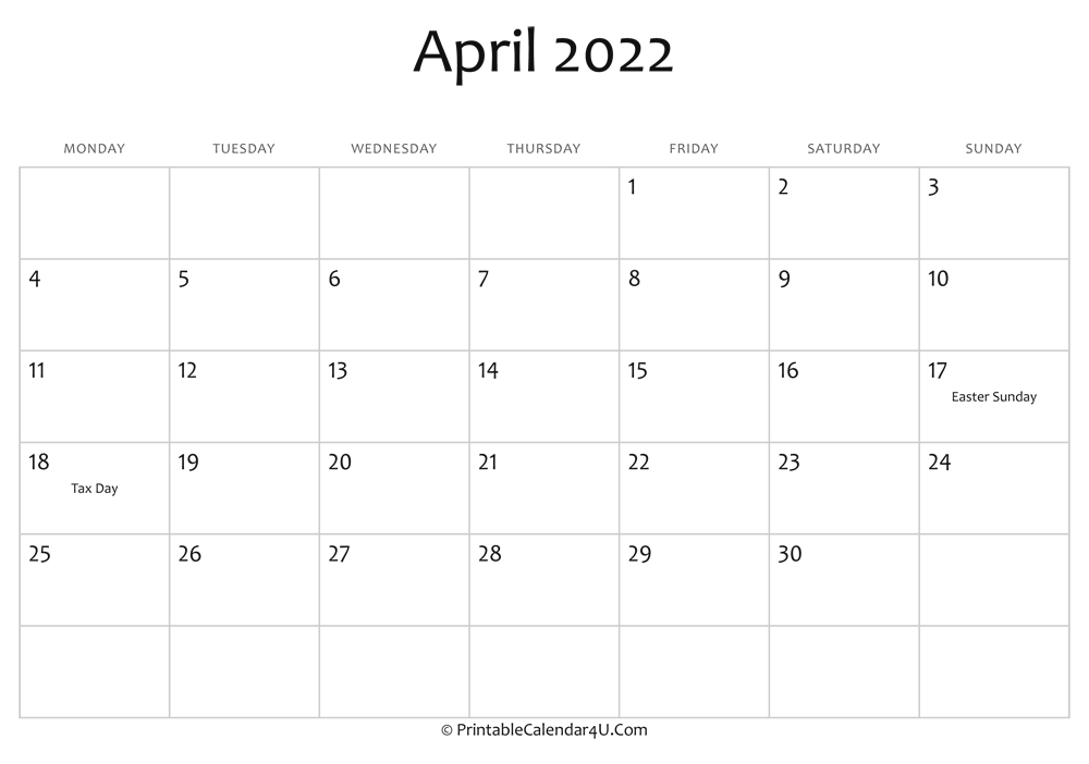 April 2022 Editable Calendar With Holidays in April Monthly Calendar 2022 Free Printable