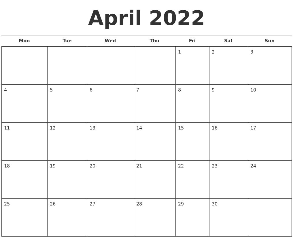 April 2022 Free Calendar Template for 2022 April Calendar Free Printable Graphics