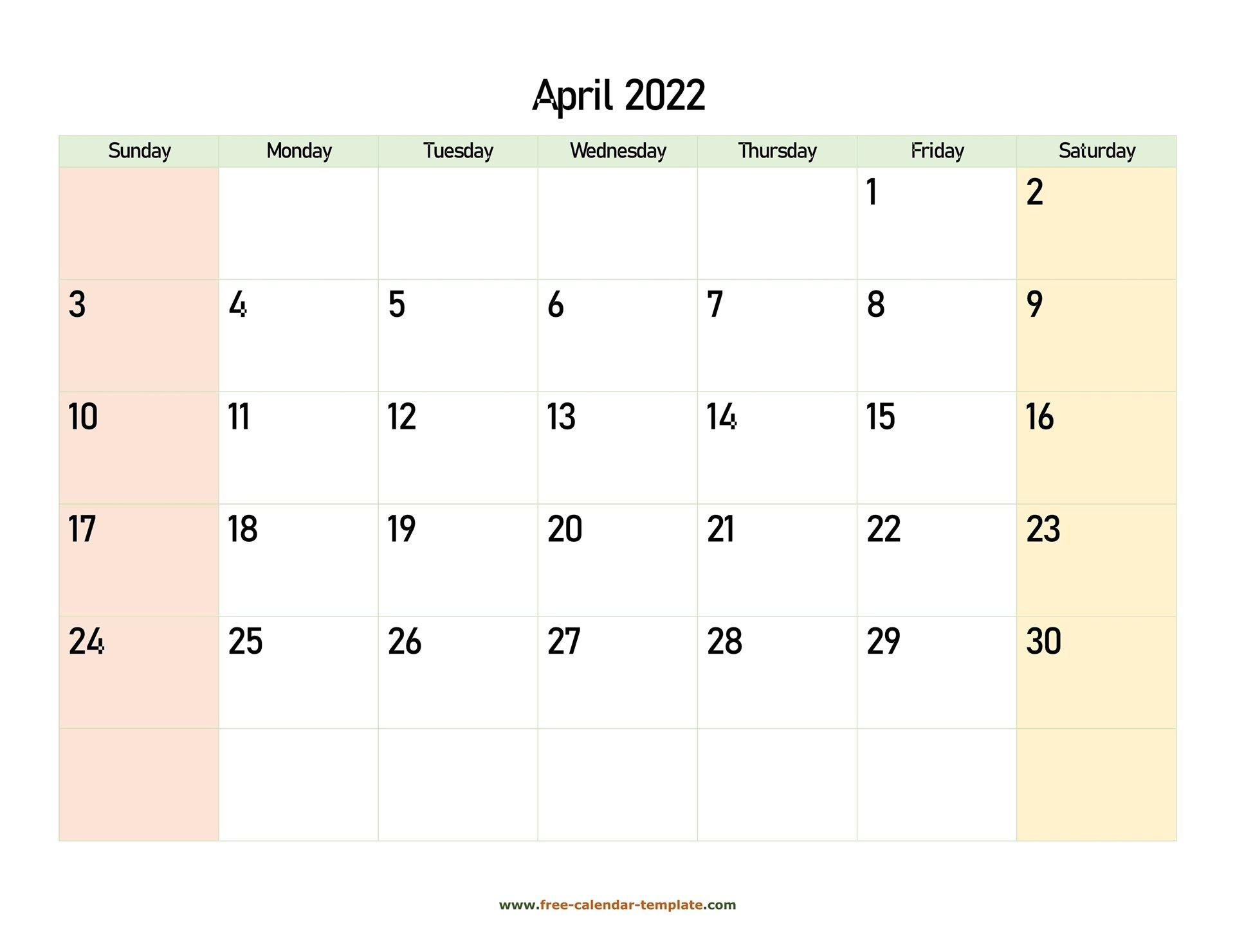 April 2022 Free Calendar Tempplate | Free-Calendar intended for Blank Calendar Printable April 2022