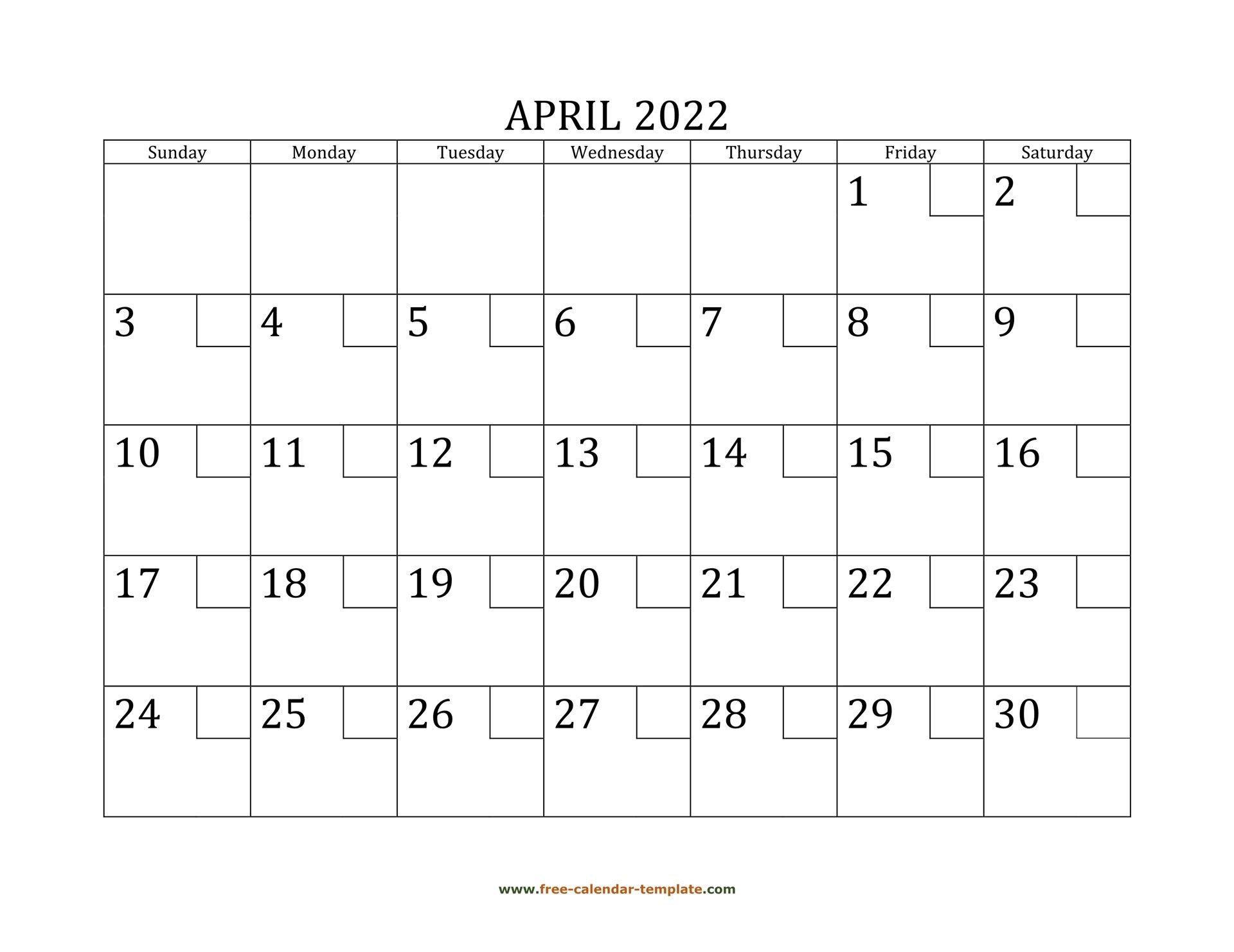 April 2022 Free Calendar Tempplate | Free-Calendar throughout Calendar April 2022 Printable Pdf