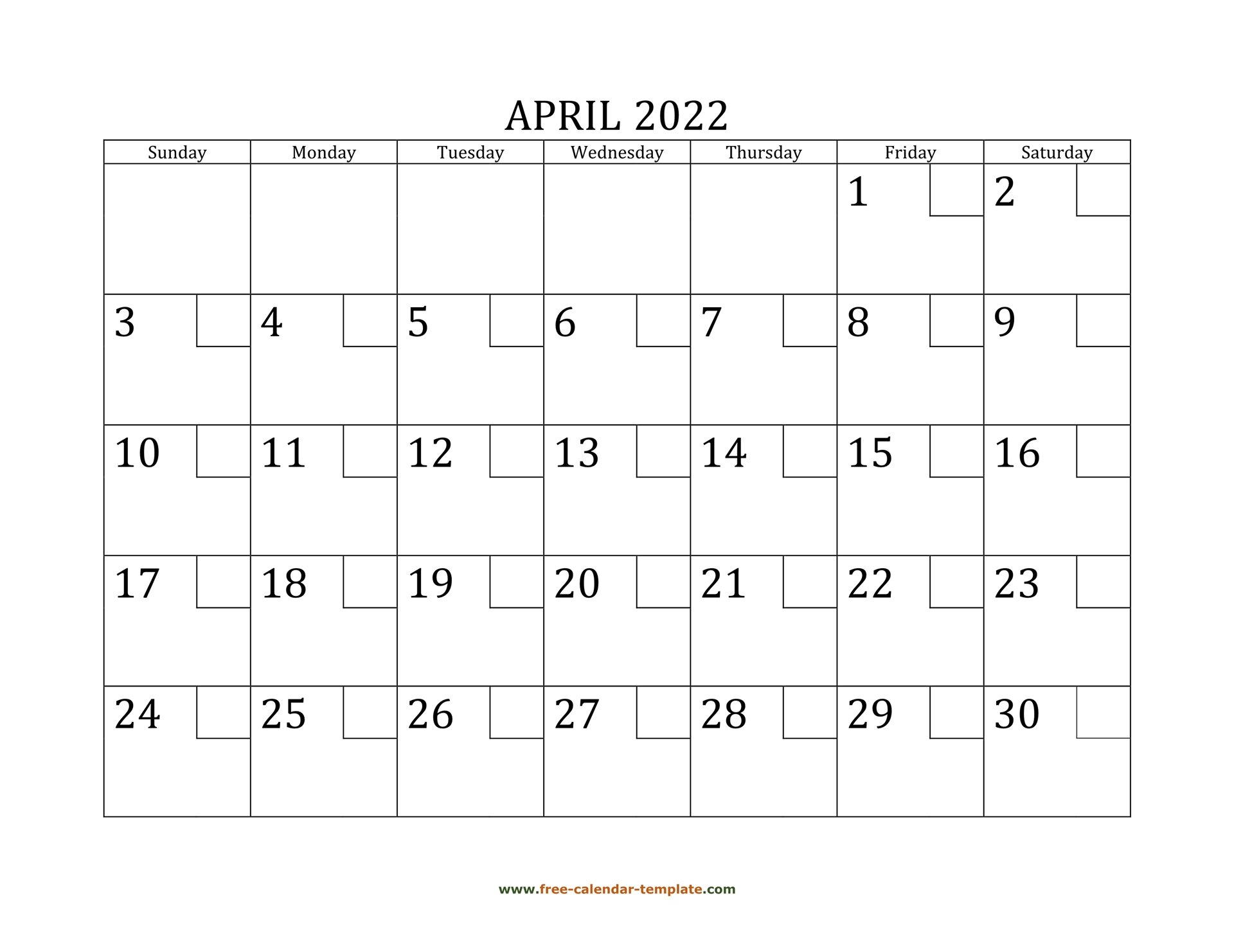 April 2022 Free Calendar Tempplate | Free-Calendar throughout Printable April 2022 Calendar Template Free