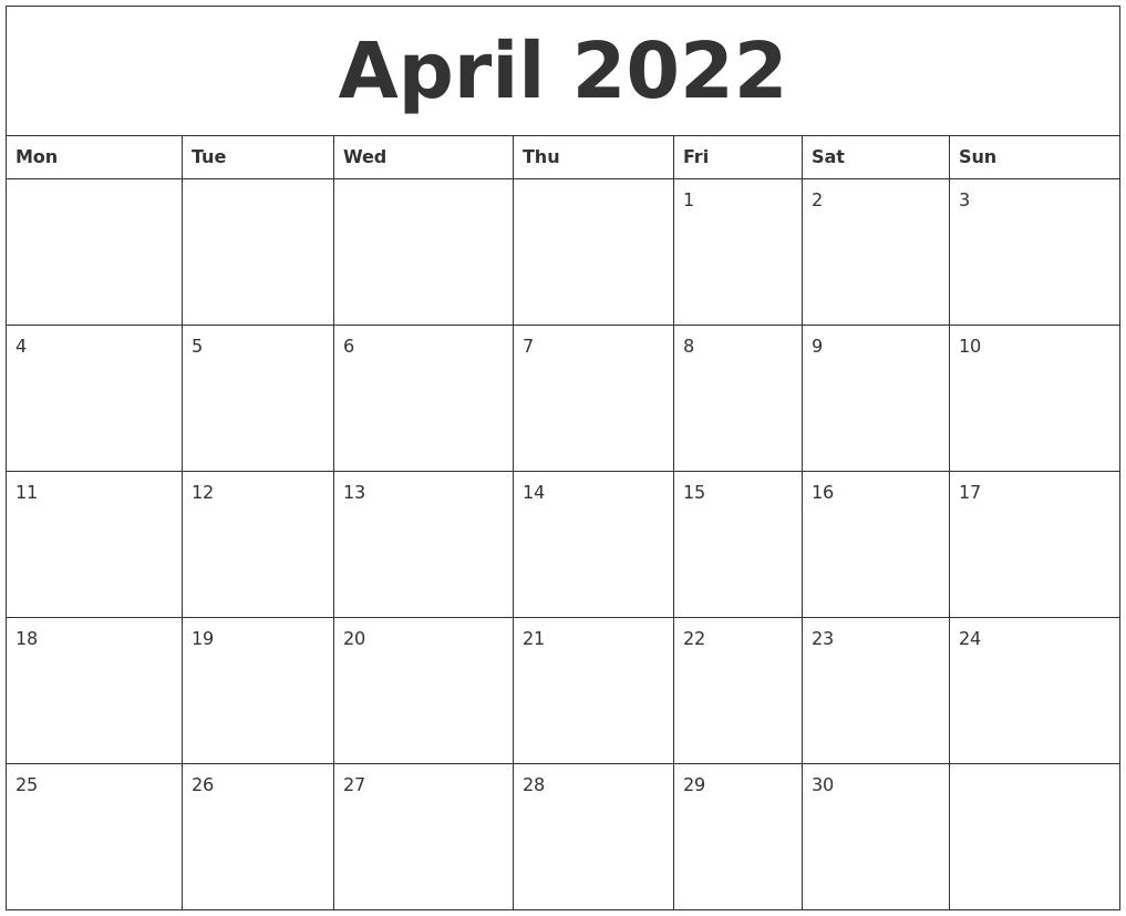 April 2022 Free Online Calendar throughout April May Calendar 2022 Pdf