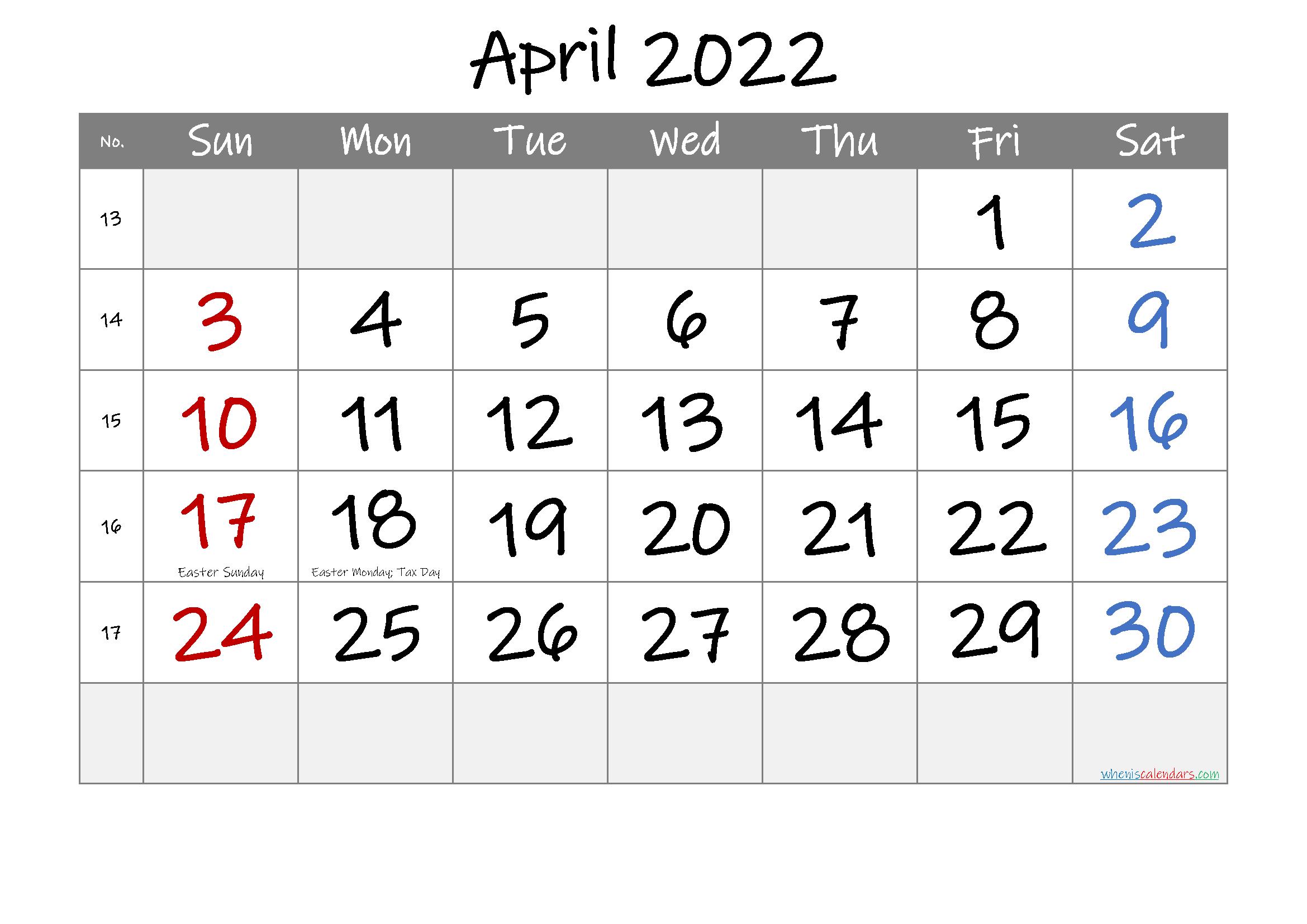April 2022 Free Printable Calendar-Template No.if22M28 within April May Calendar 2022 Pdf Photo